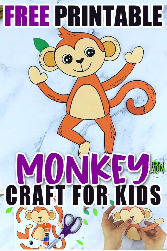 Are you looking for an easy printable paper monkey craft for your five little monkey fan to teach about the letter M? This simple jungle animal is perfect for kids of all ages including preschool, toddler and kindergarten. Use it with their handprint, paint it with their finger print or use this monkey craft. This monkey craft cut out can also be turned into a swinging paper bag puppet!