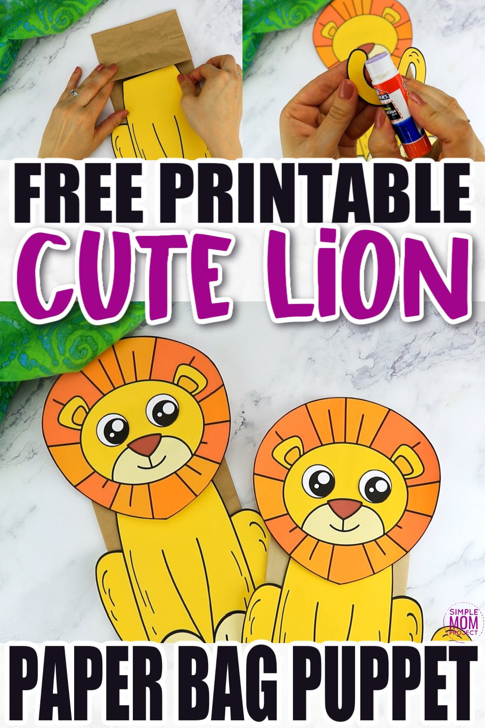 Are you teaching the letter L to your preschooler or toddler? Be sure to use this free printable paper bag lion puppet template. It is easy to cut out and craft making it with simple materials like a paper bag! The lion template comes in color and in black and white. Print yours now!