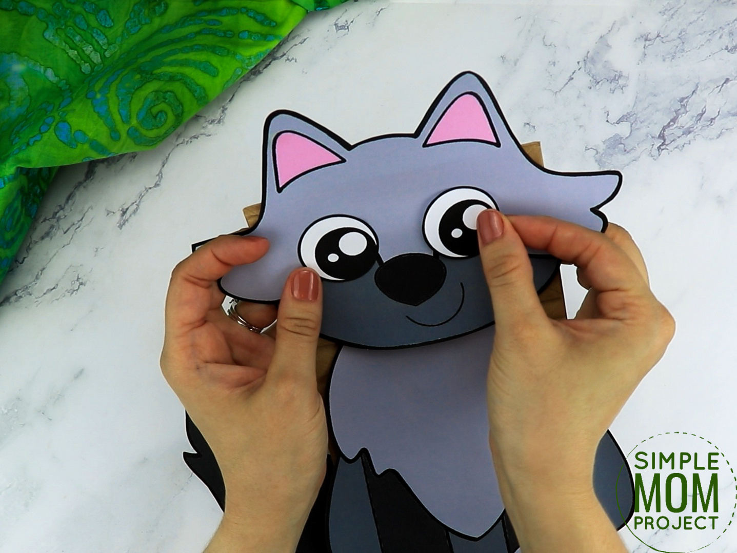 Free Printable Paper Bag Wolf Puppet Craft for Kids preschoolers and toddlers
