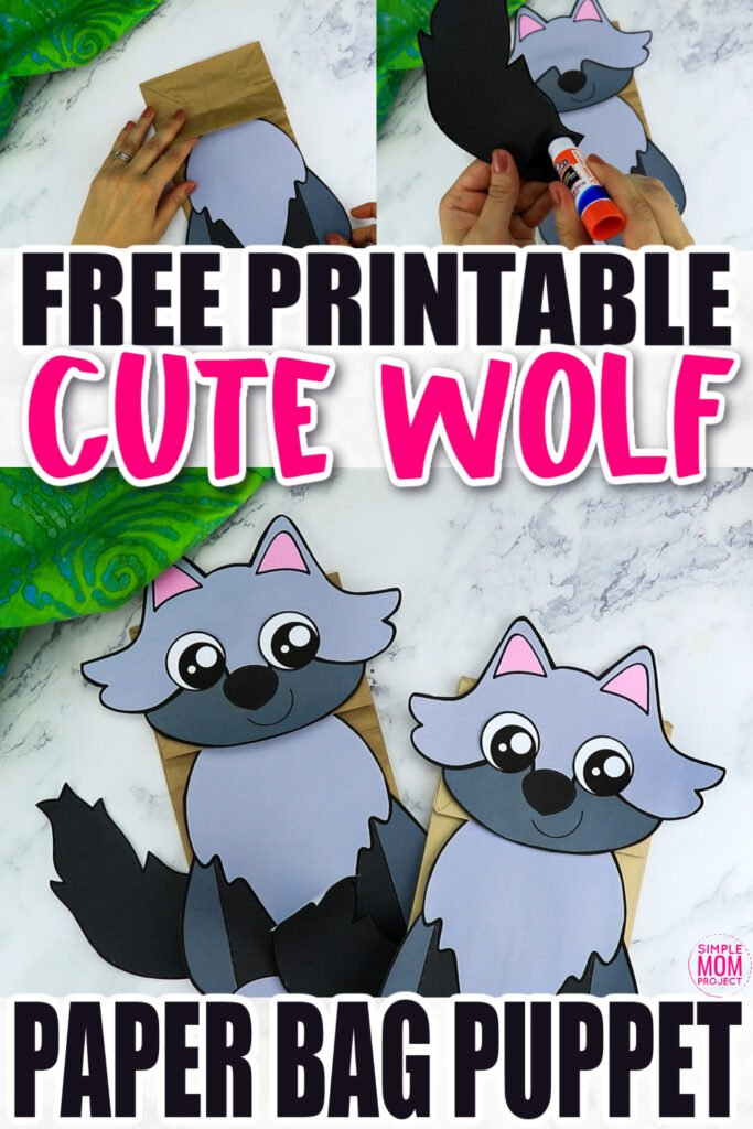 Are you looking for a fun printable wolf template to make a hand puppet for preschoolers? Click now to download and print the paper bag wolf puppet template for free! This wolf paper bag puppet is the perfect way to put on a Little Red Riding Hood Puppet show! This wolf paper bag puppet craft is perfect for kids of all ages including preschoolers and toddlers.