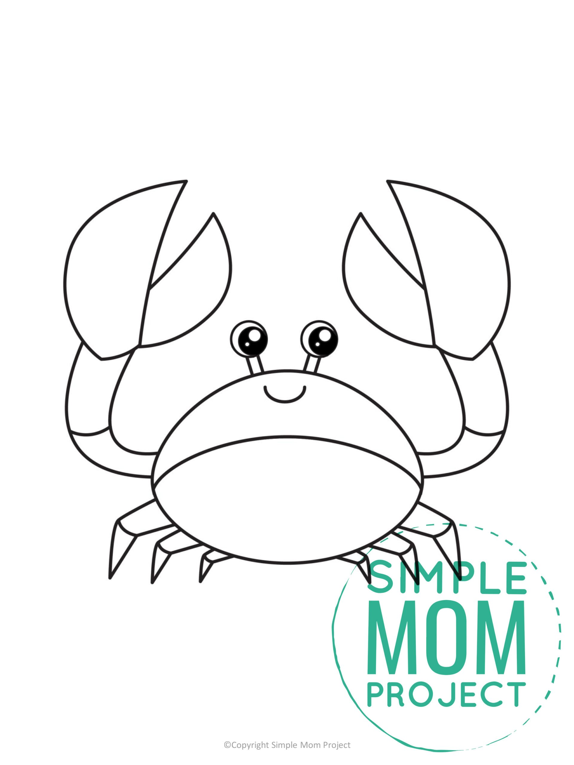 Free Printable Summer Beach Crab Template for Kids, preschooler and toddler