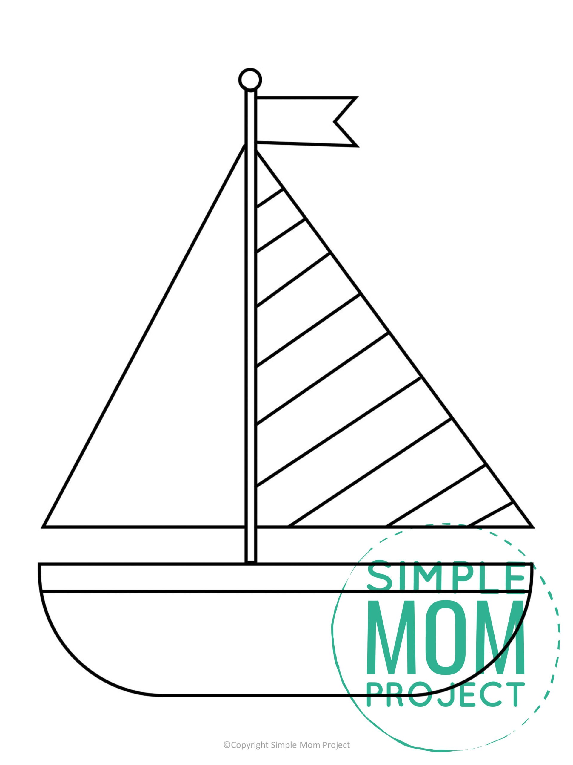 Free Printable Summer Beach Sailboat Template for Kids, preschooler and toddler