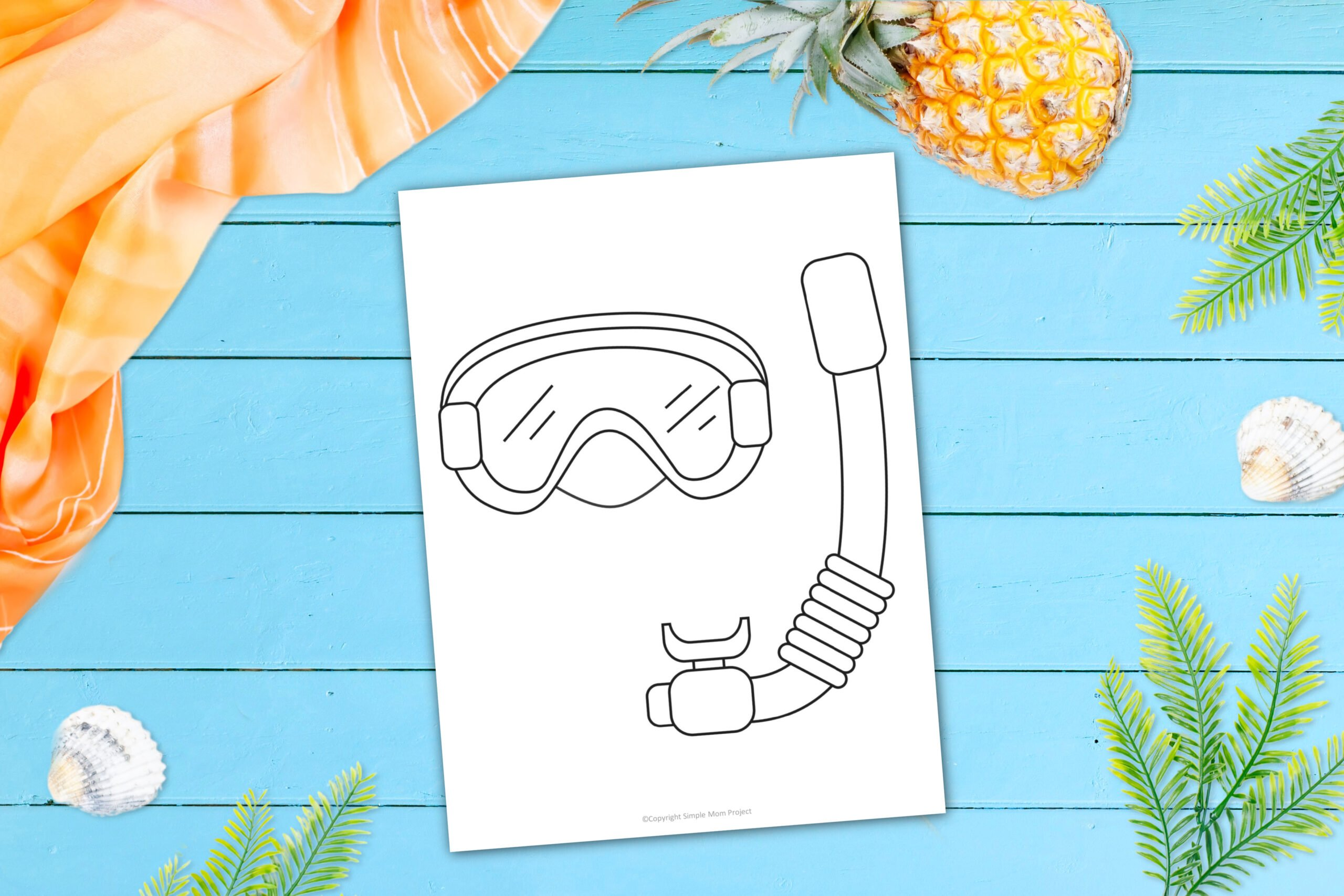 Free Printable Summer Beach Snorkel Template for Kids, preschooler and toddler