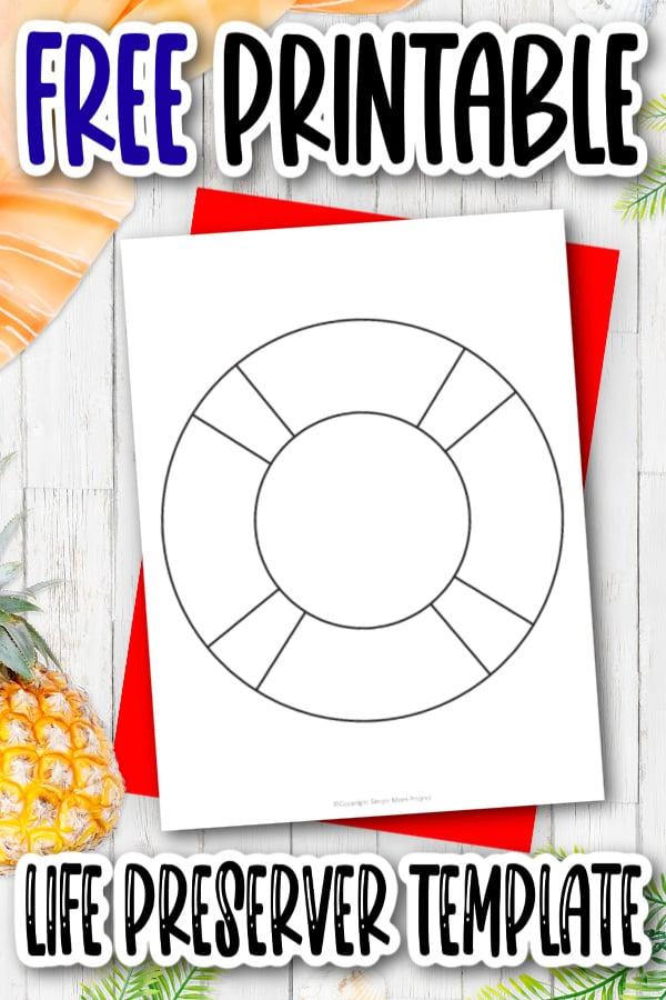 Free Printable Summer Beach life preserver Template for Kids, preschooler and toddler