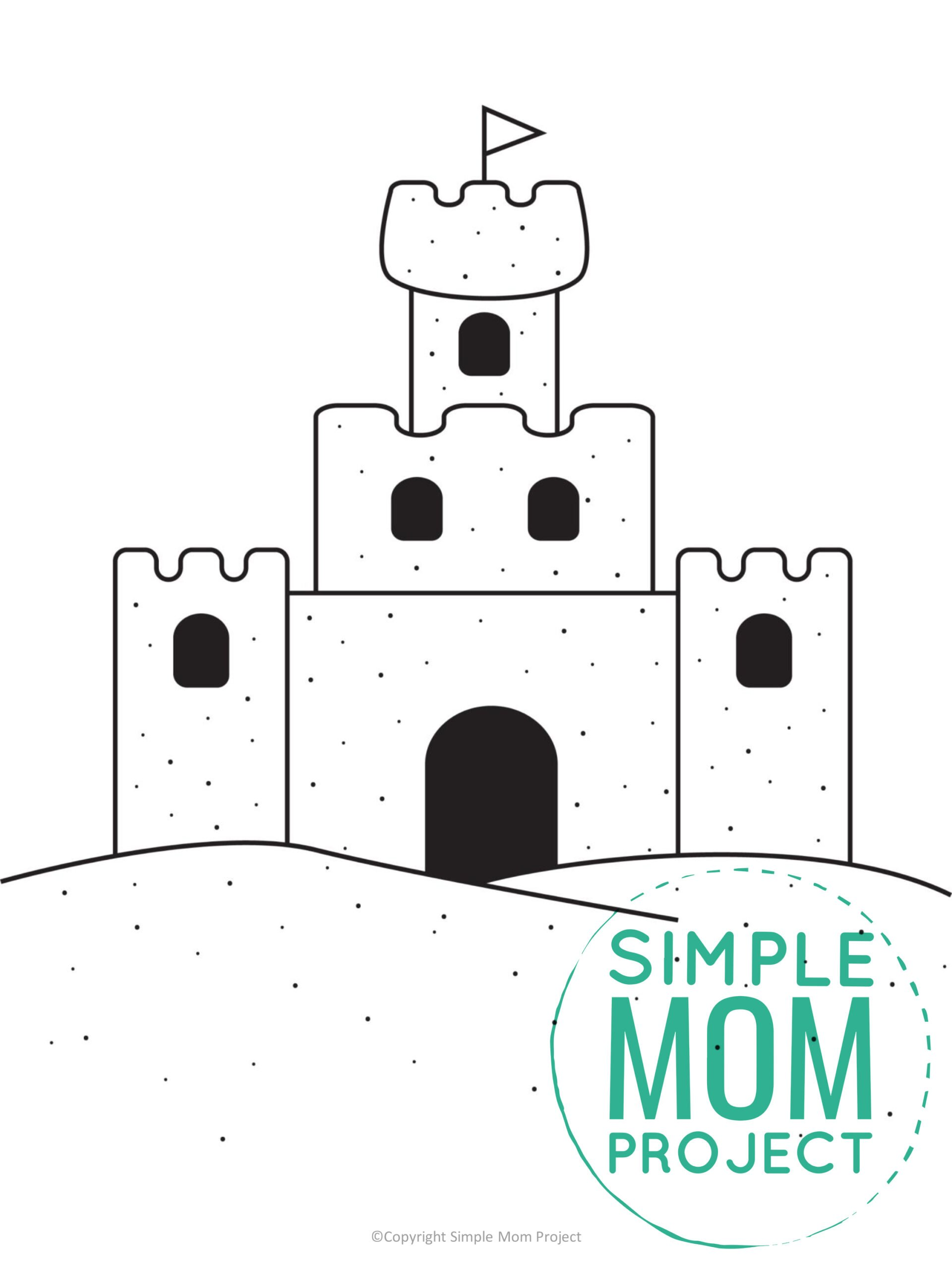 Free Printable Summer Beach Sandcastle Template for Kids, preschooler and toddler