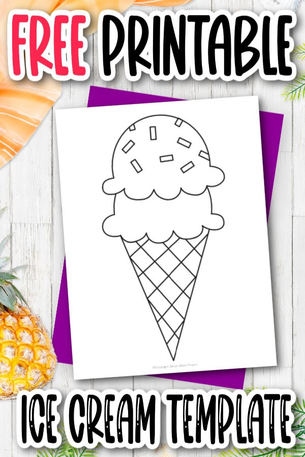 Are you looking for an easy, printable cut out outline of an ice cream template for your preschooler? This cut ice cream scoop is perfect for clip art, string art, a summer papercraft or a simple coloring page. Click now to download and print the ice cream template today!