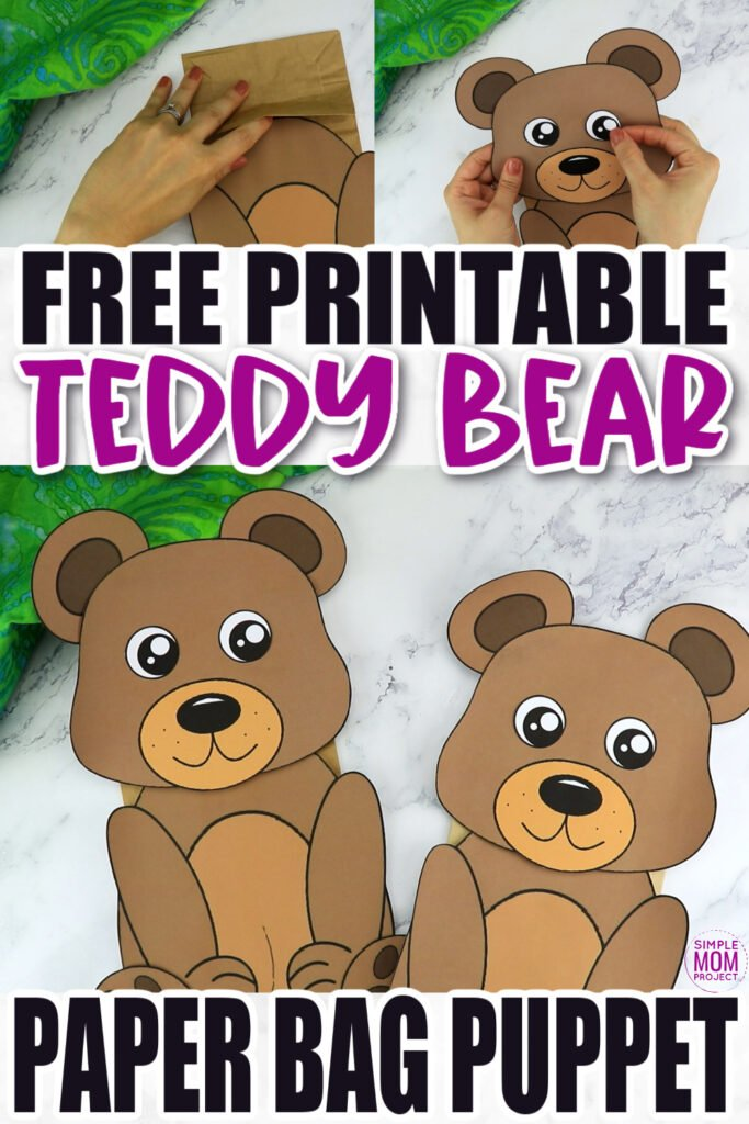 Click now to download and print our free bear template to make this fun brown teddy bear paper bag puppet craft. Print three of them to have a start in a puppet show of Goldilocks and the three bears! This bear paper bag puppet craft is perfect for kids of all ages including preschoolers and toddlers.