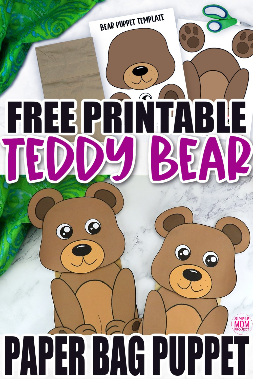 Free Printable Teddy Bear Paper Bag Puppet Template for Kids Preschoolers and toddlers