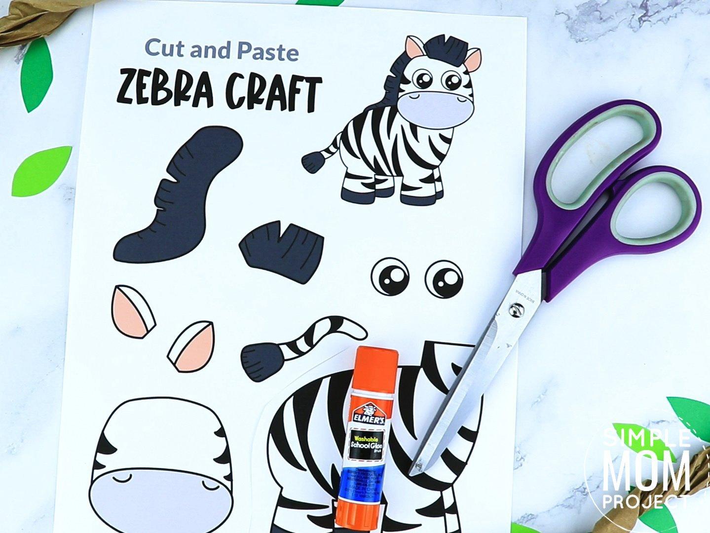 Free Printable zebra Craft for preschoolers, toddlers and kindergartners