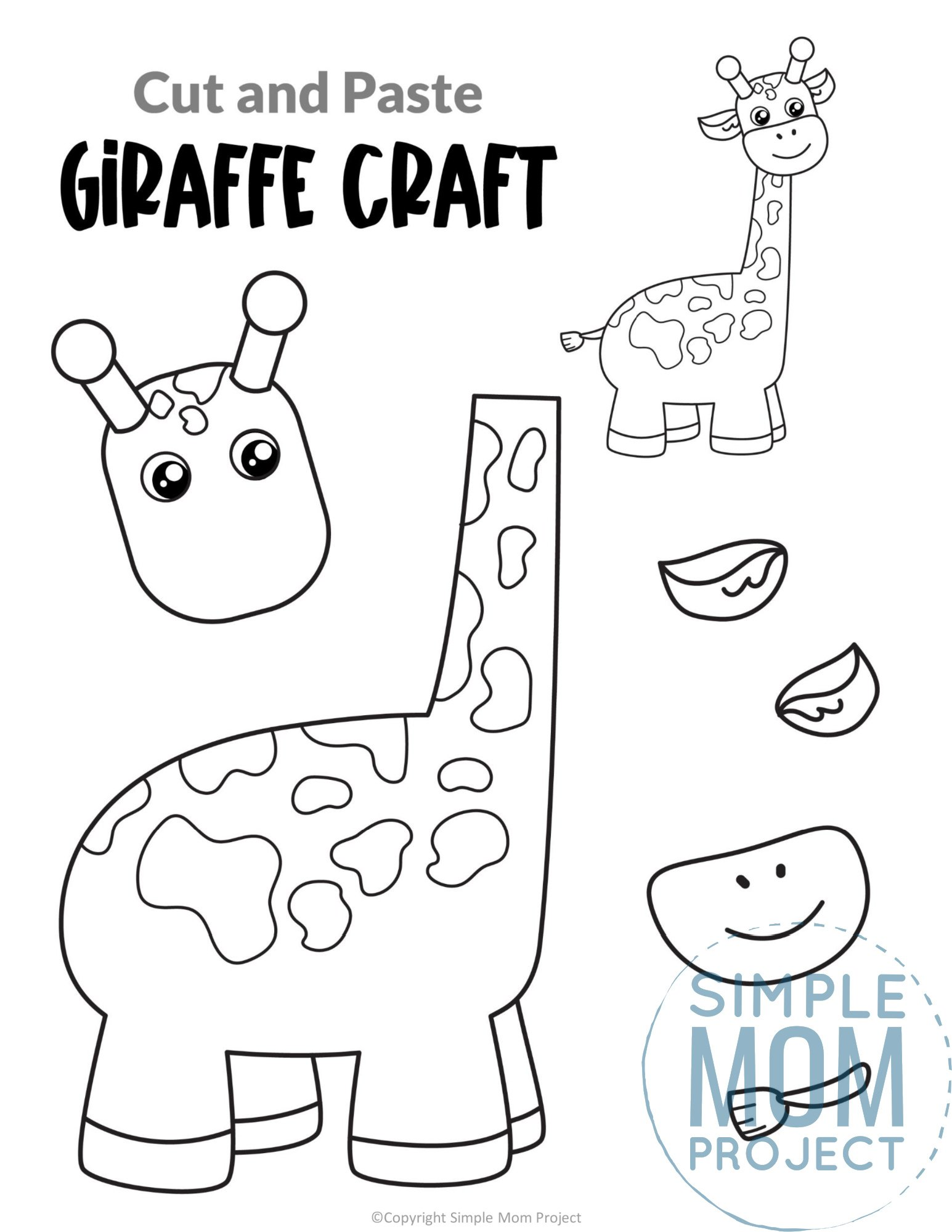 Giraffe Cut and Paste Craft for Toddlers, Preschoolers and Kindergarteners