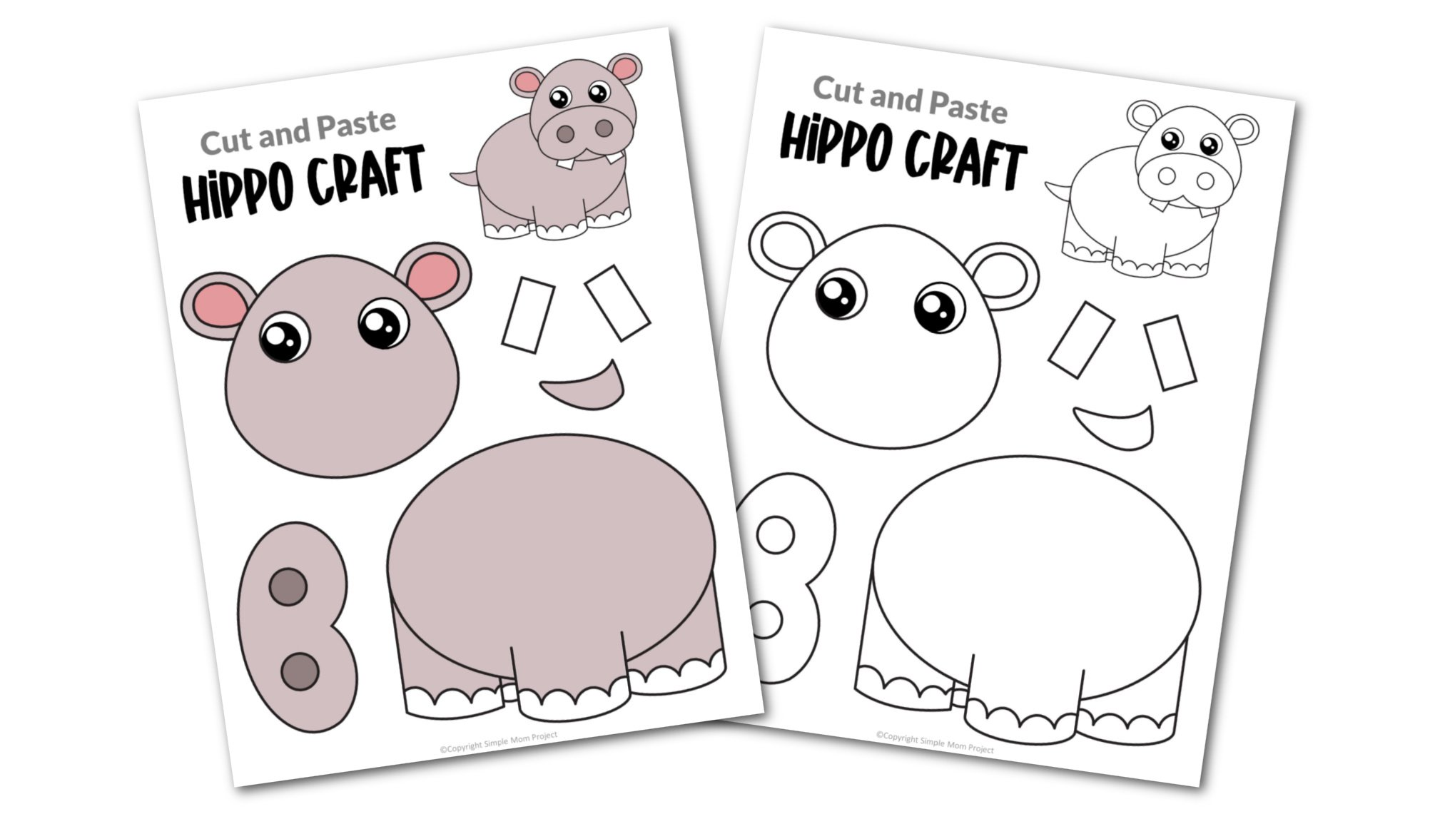 Hippo Cut and Paste Craft for Toddlers, Preschoolers and Kindergarteners Convertkit