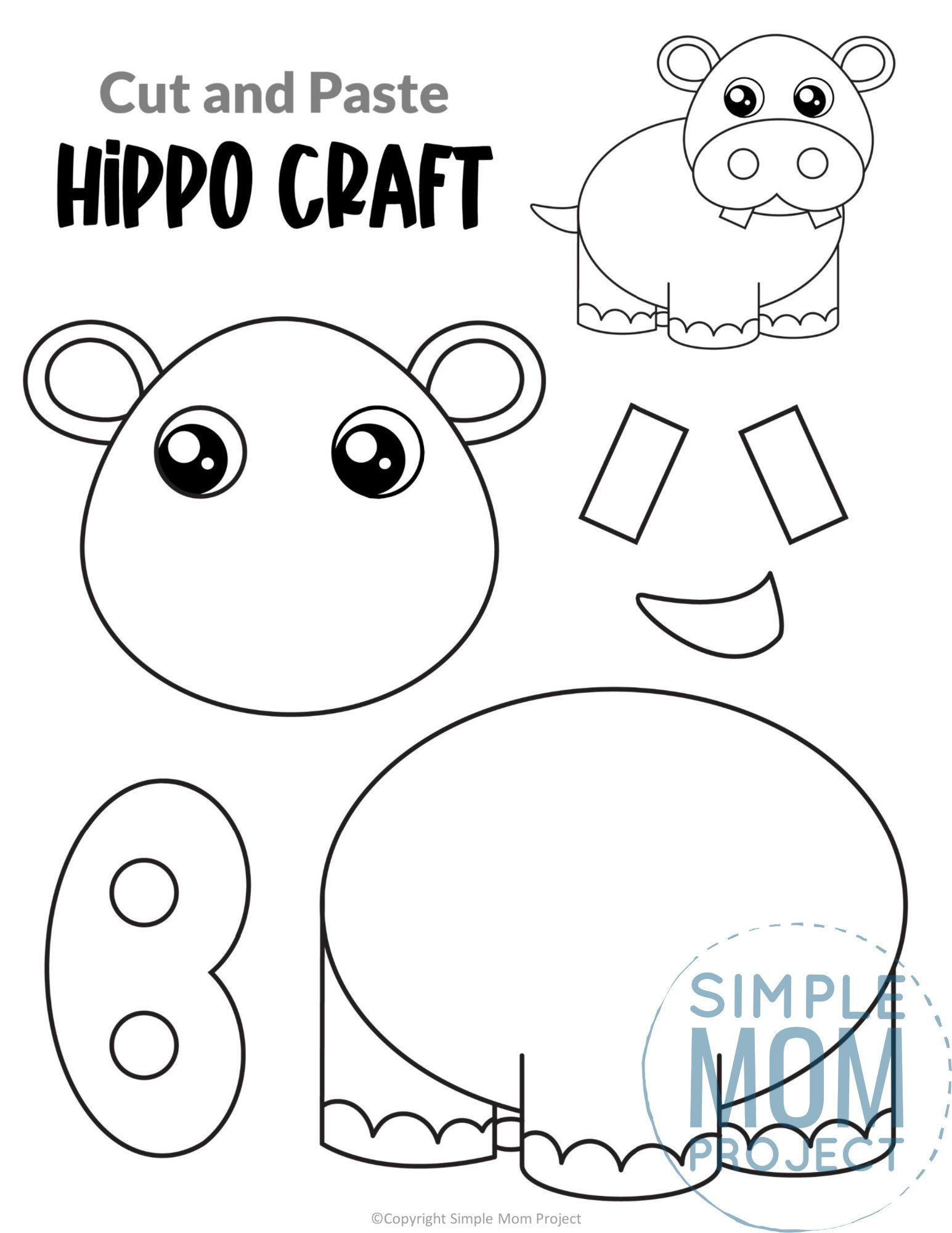 Hippo Cut and Paste Craft for Toddlers, Preschoolers and Kindergarteners