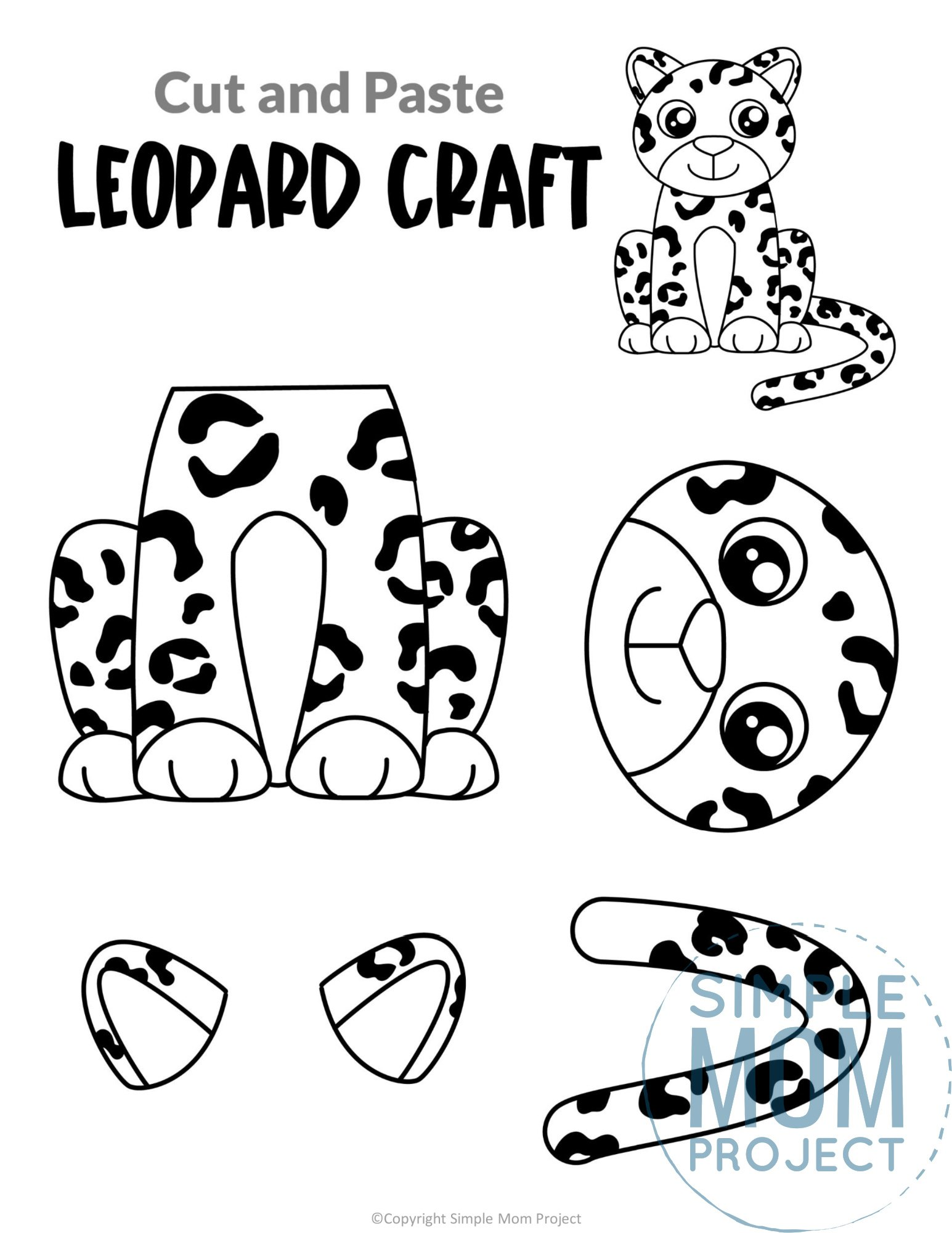 Leopard Cut and Paste Craft for Toddlers, Preschoolers and Kindergarteners