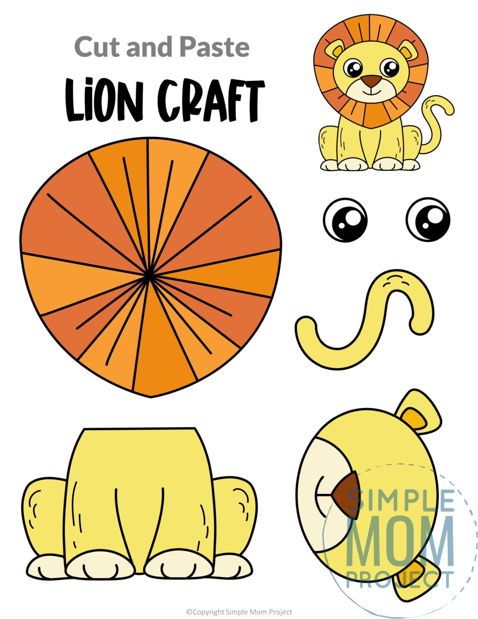Lion Cut and Paste Craft for Toddlers, Preschoolers and Kindergarteners