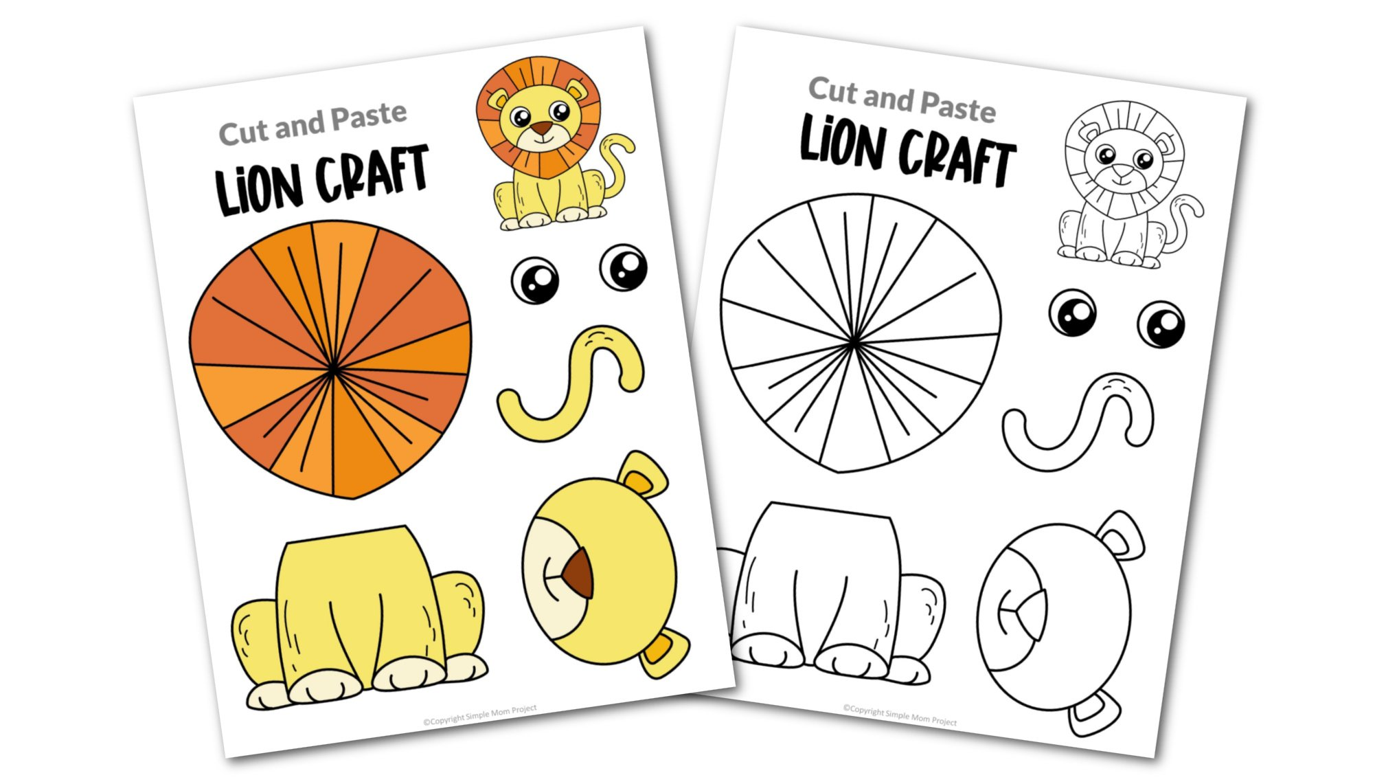 Lion Cut and Paste Craft for Toddlers, Preschoolers and Kindergarteners Convertkit