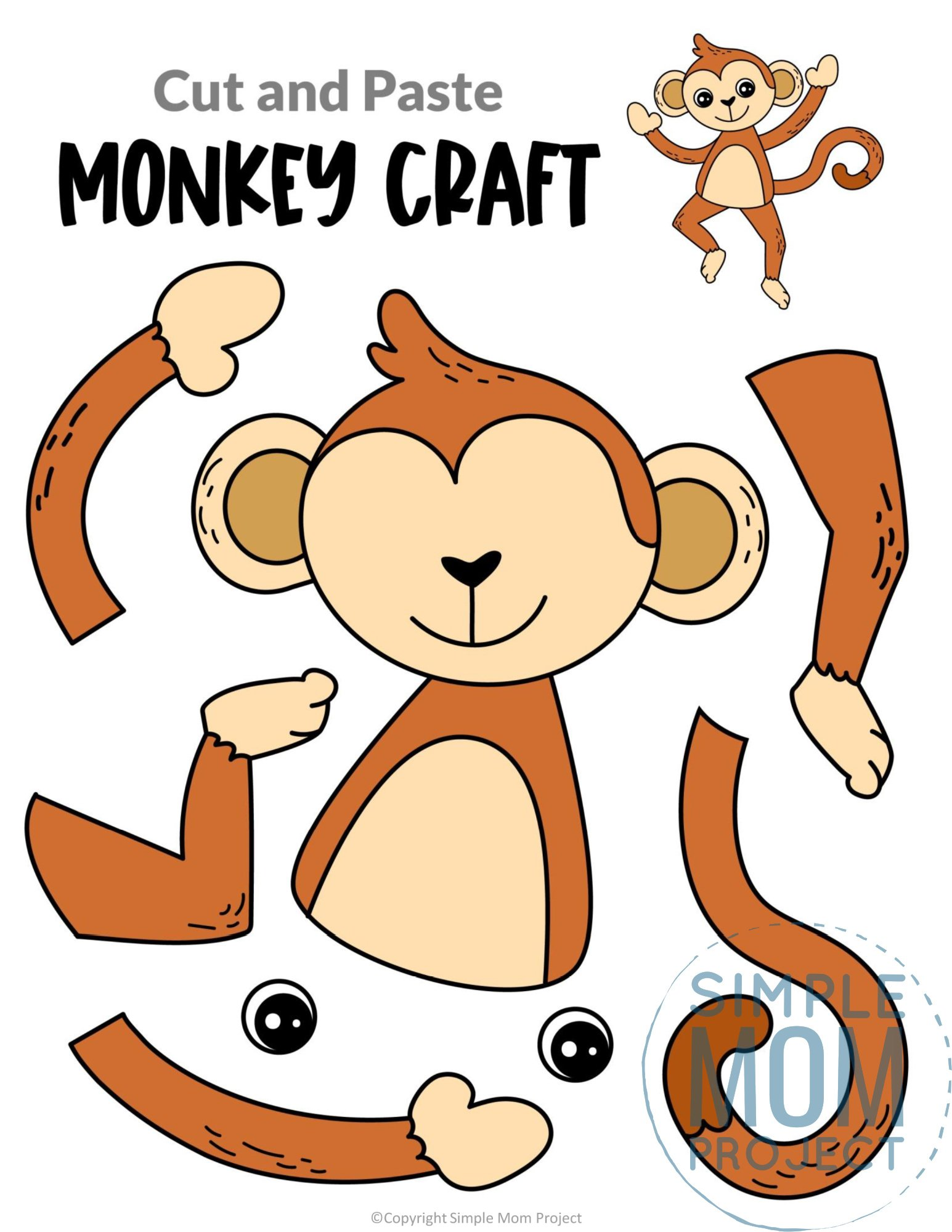 Monkey Cut and Paste Craft for Toddlers, Preschoolers and Kindergarteners