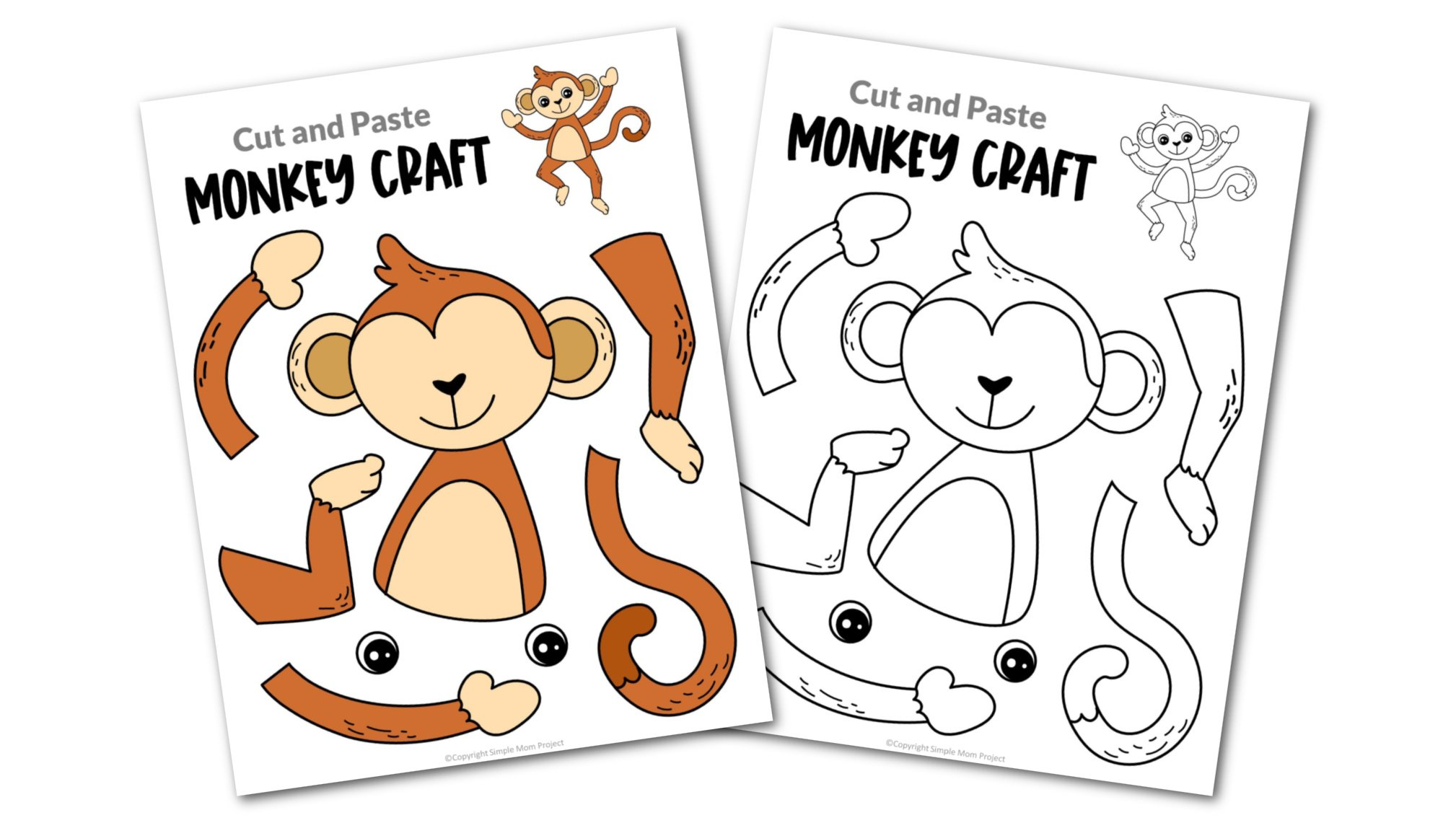 Monkey Cut and Paste Craft for Toddlers, Preschoolers and Kindergarteners Convertkit