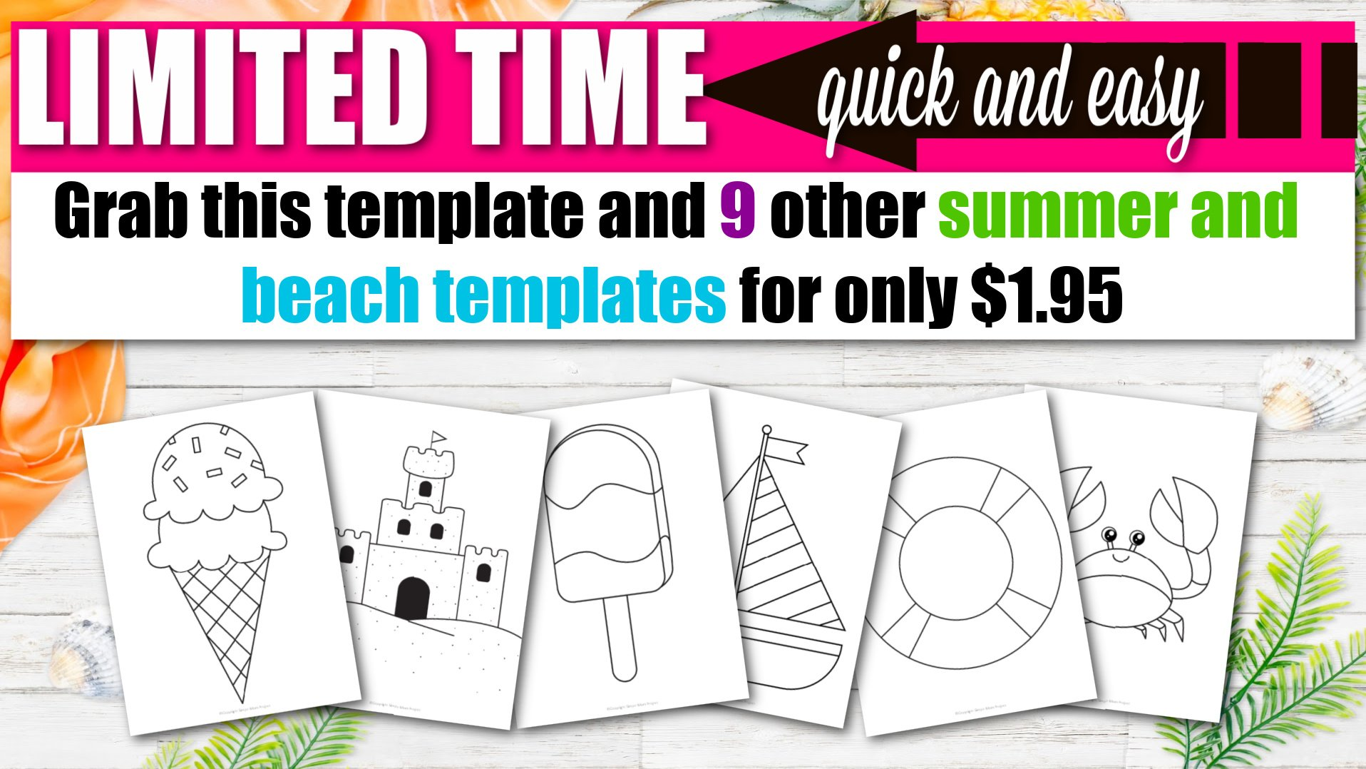 Printable Beach and Summer Templates for Kids preschoolers and toddlers 3