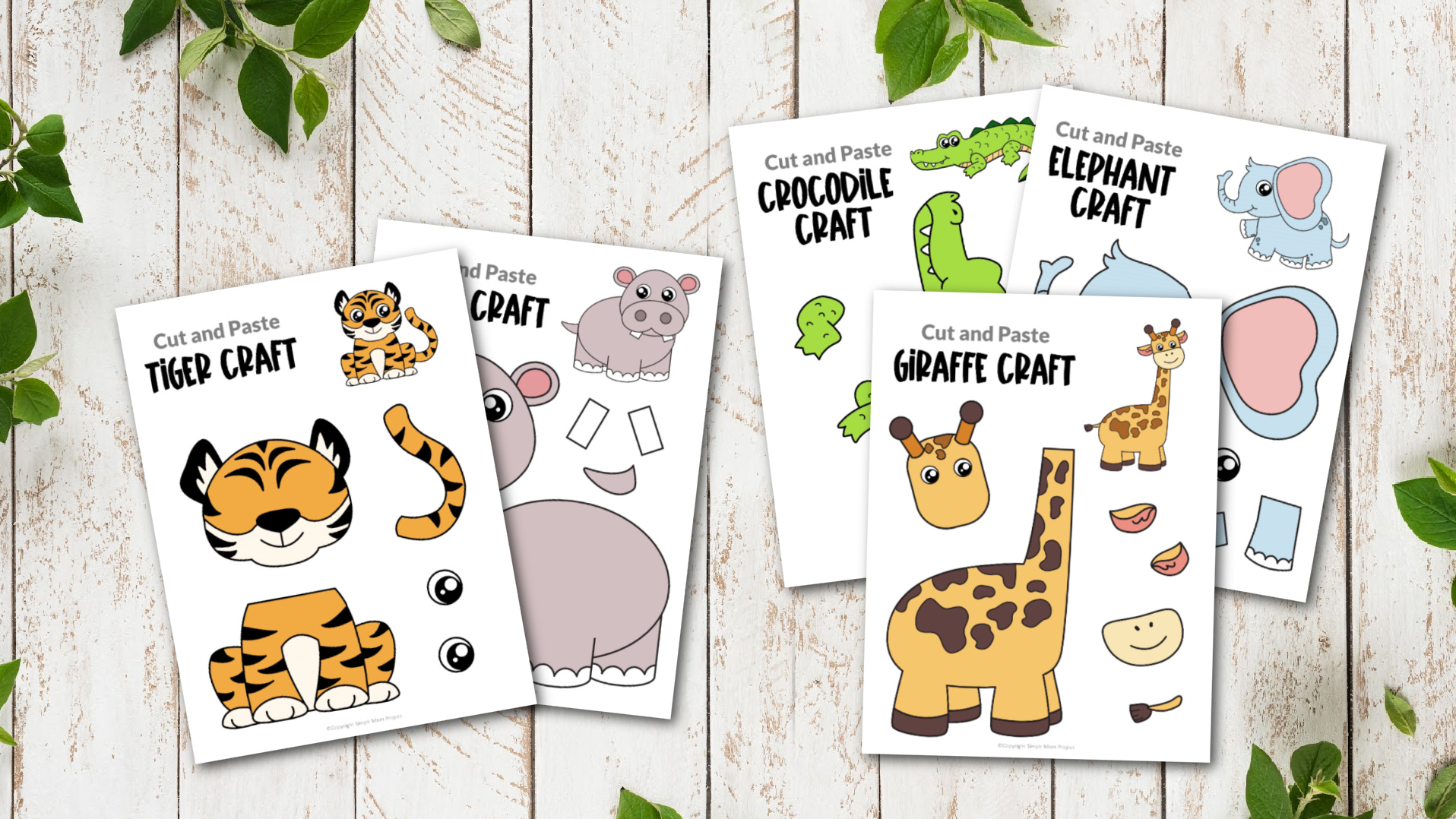 Printable Safari Jungle Animal Crafts for Kids preschoolers kindergartners and toddlers 2