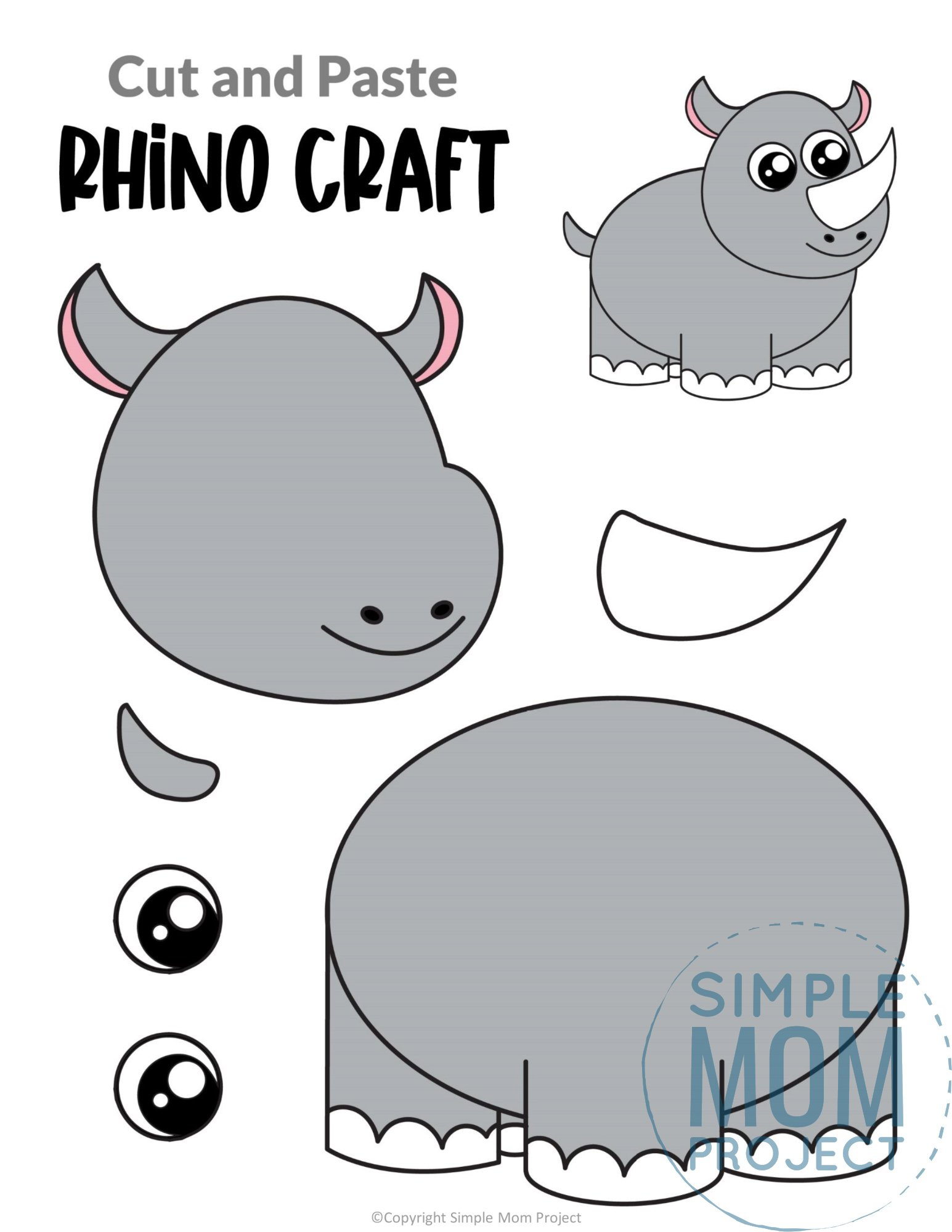 Rhino Cut and Paste Craft for Toddlers, Preschoolers and Kindergarteners