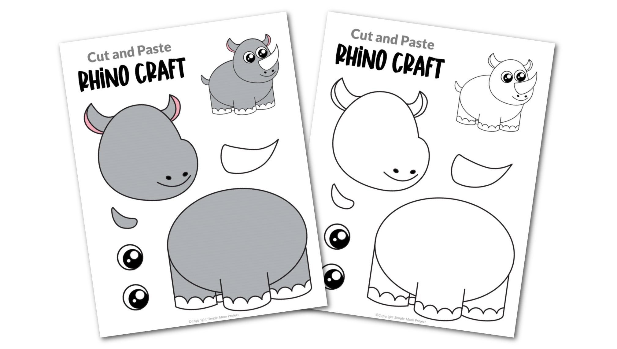 Rhino Cut and Paste Craft for Toddlers, Preschoolers and Kindergarteners Convertkit