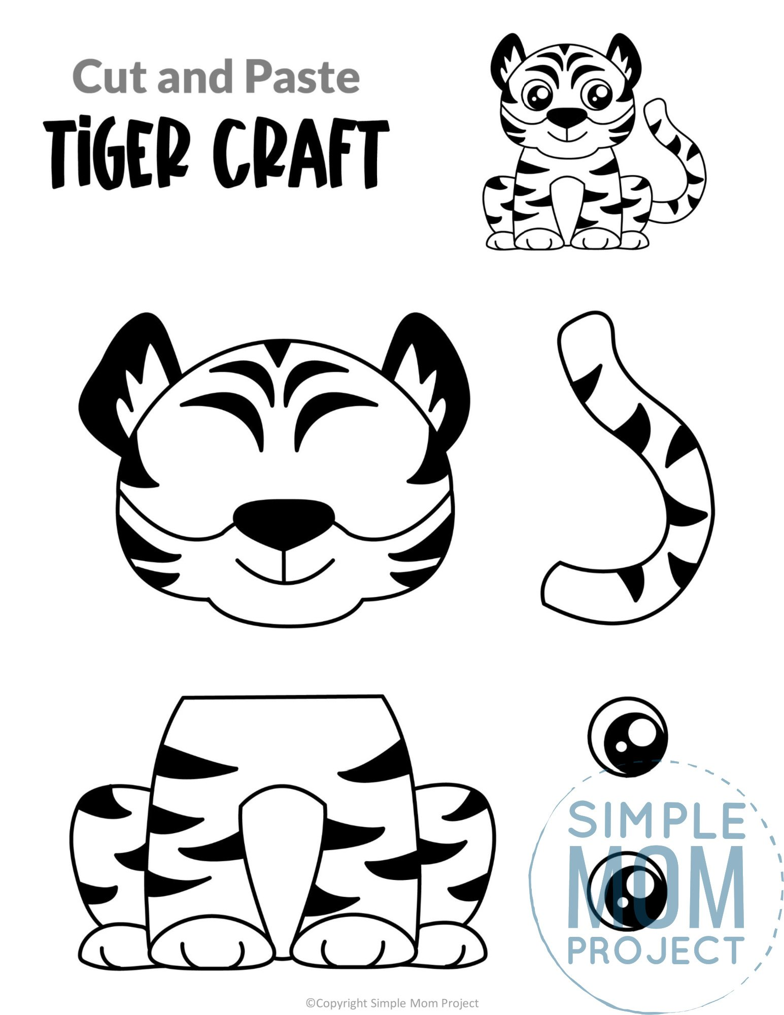 Tiger Cut and Paste Craft for Toddlers, Preschoolers and Kindergarteners