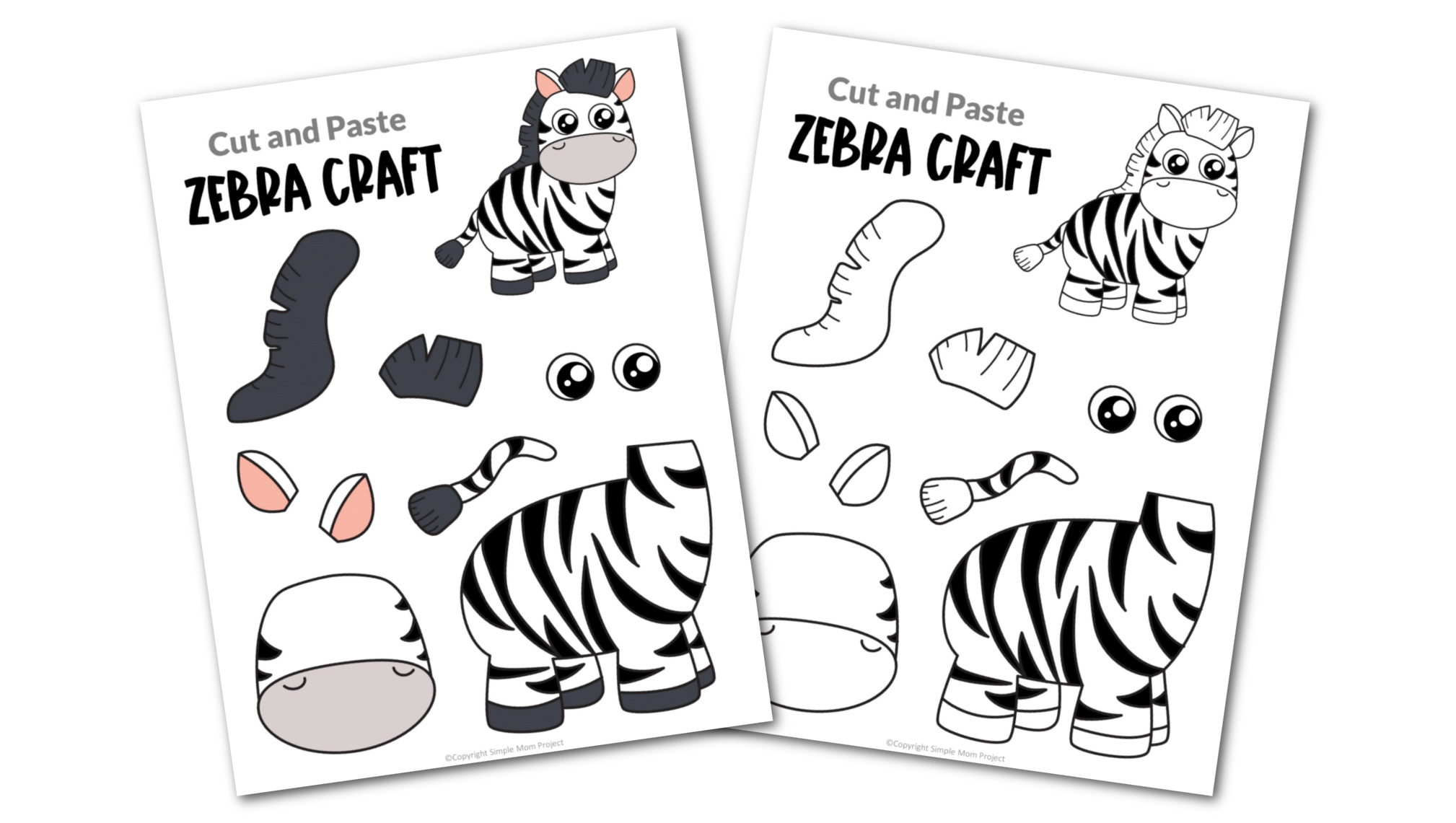 Zebra Cut and Paste Craft for Toddlers, Preschoolers and Kindergarteners