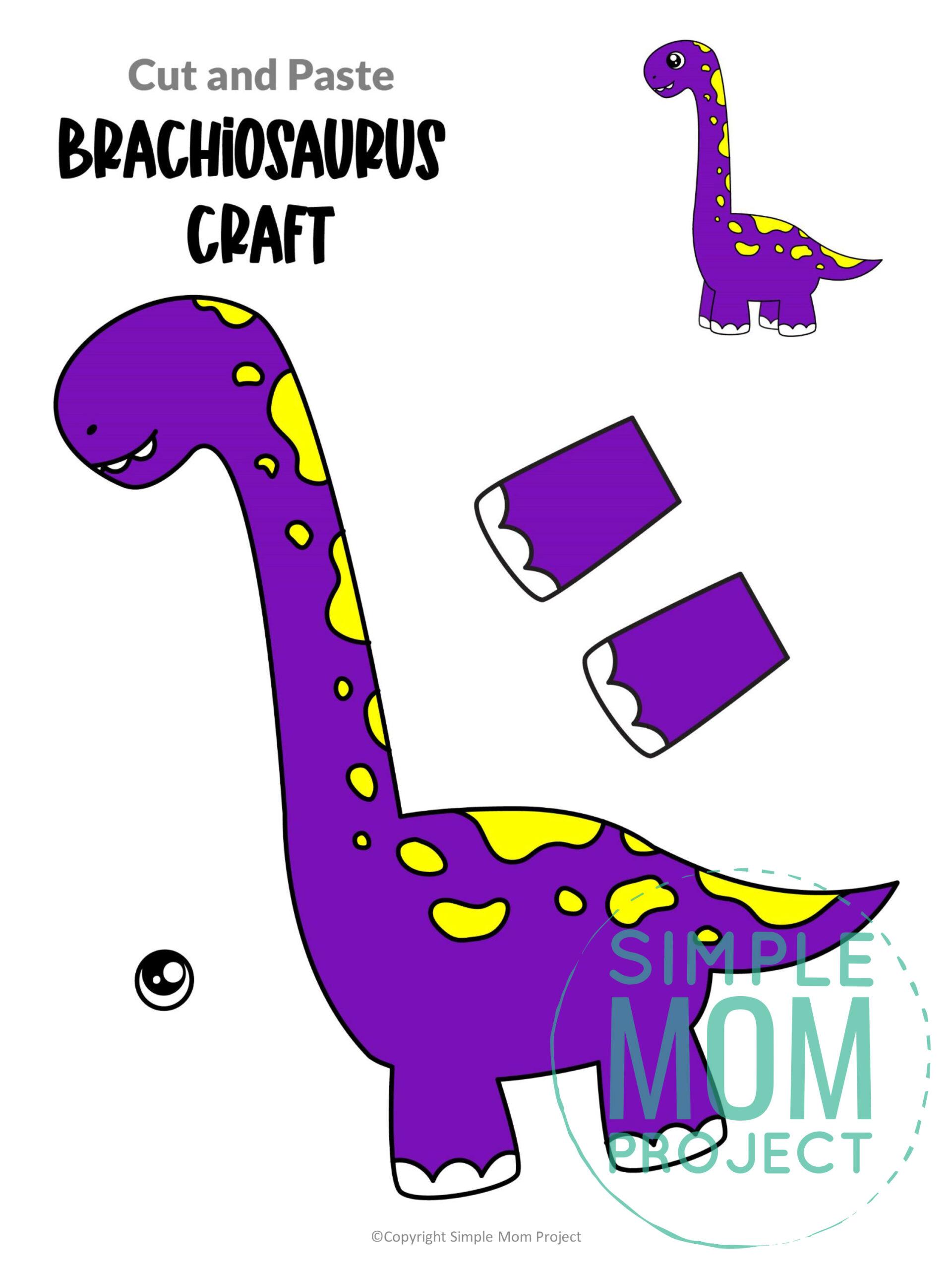 Printable Brachiosaurus Dinosaur Craft for Preschoolers, toddlers and kindergartners
