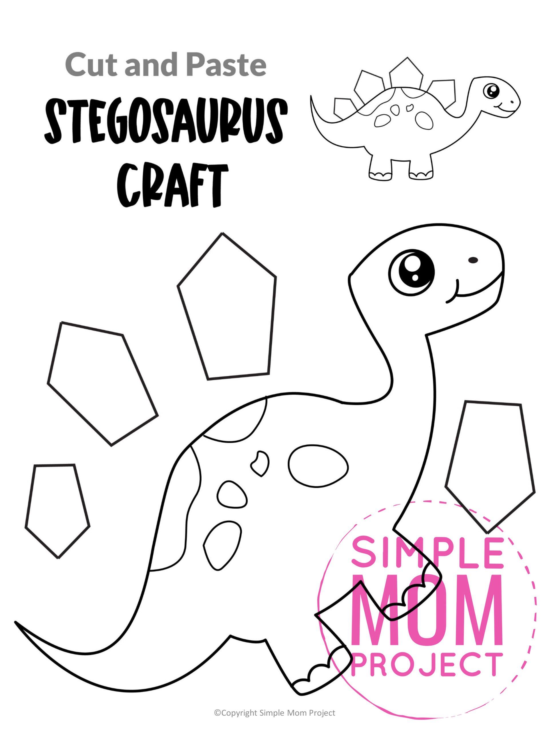 Printable Stegosaurus Dinosaur Craft for Preschoolers, toddlers and kindergartners
