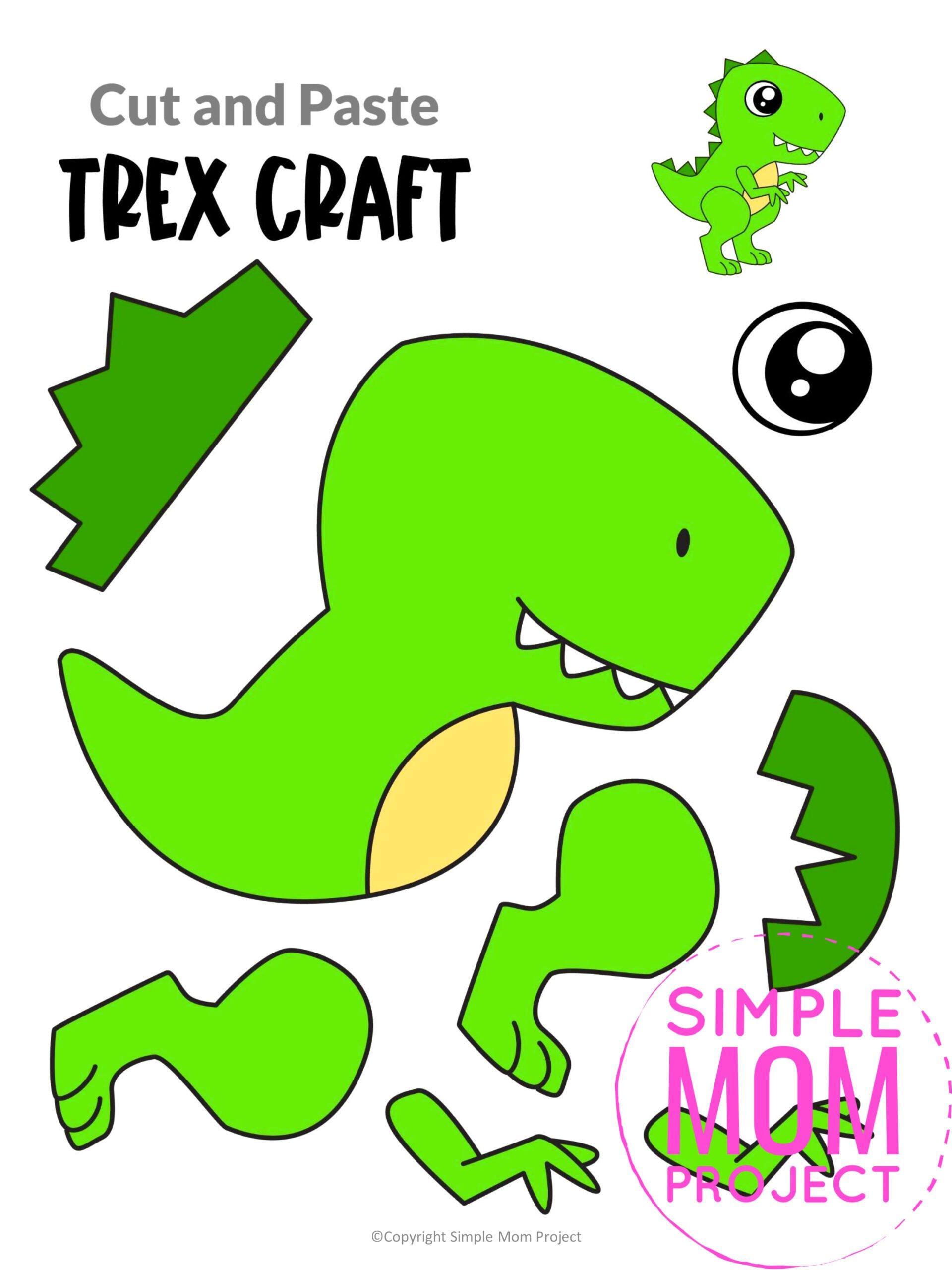 Printable Trex Dinosaur Craft for Preschoolers, toddlers and kindergartners