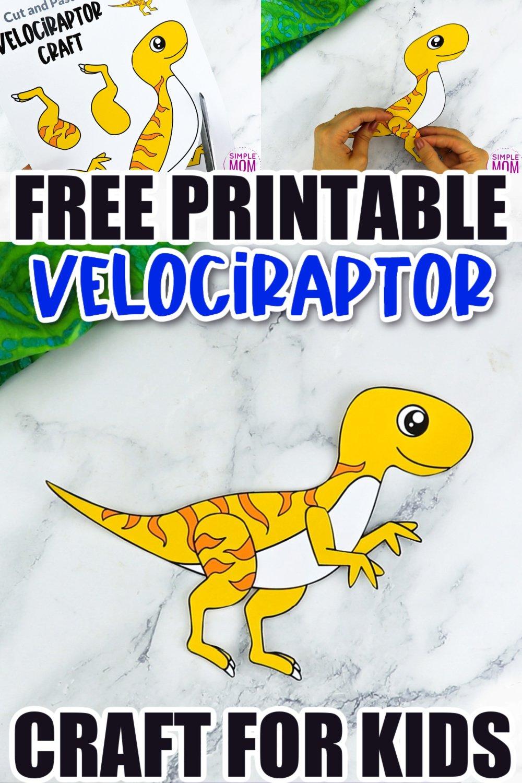Free Printable Velociraptor Dinosaur Craft for Preschoolers, toddlers and kindergartners