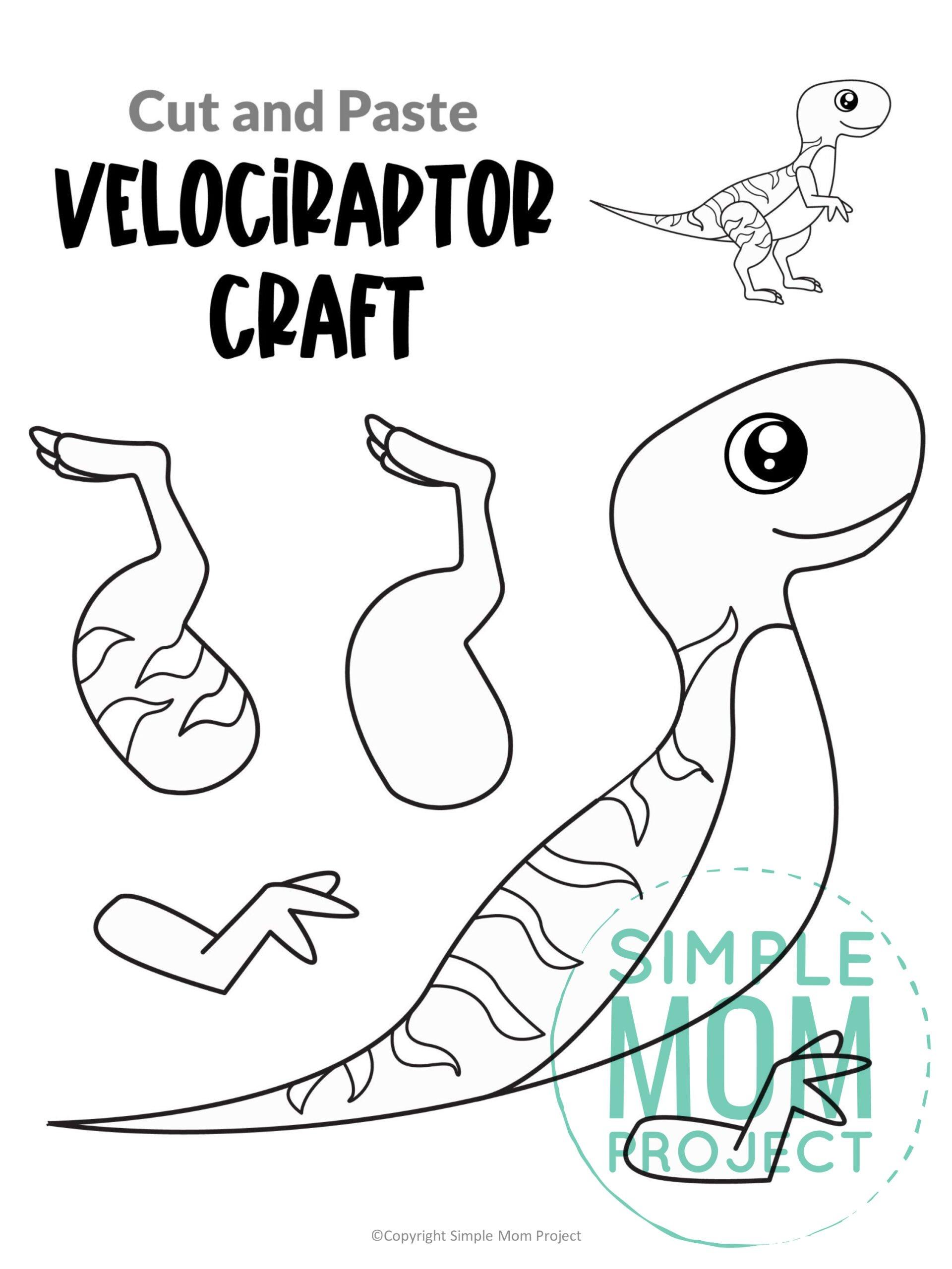 Printable Velociraptor Dinosaur Craft for Preschoolers, toddlers and kindergartners