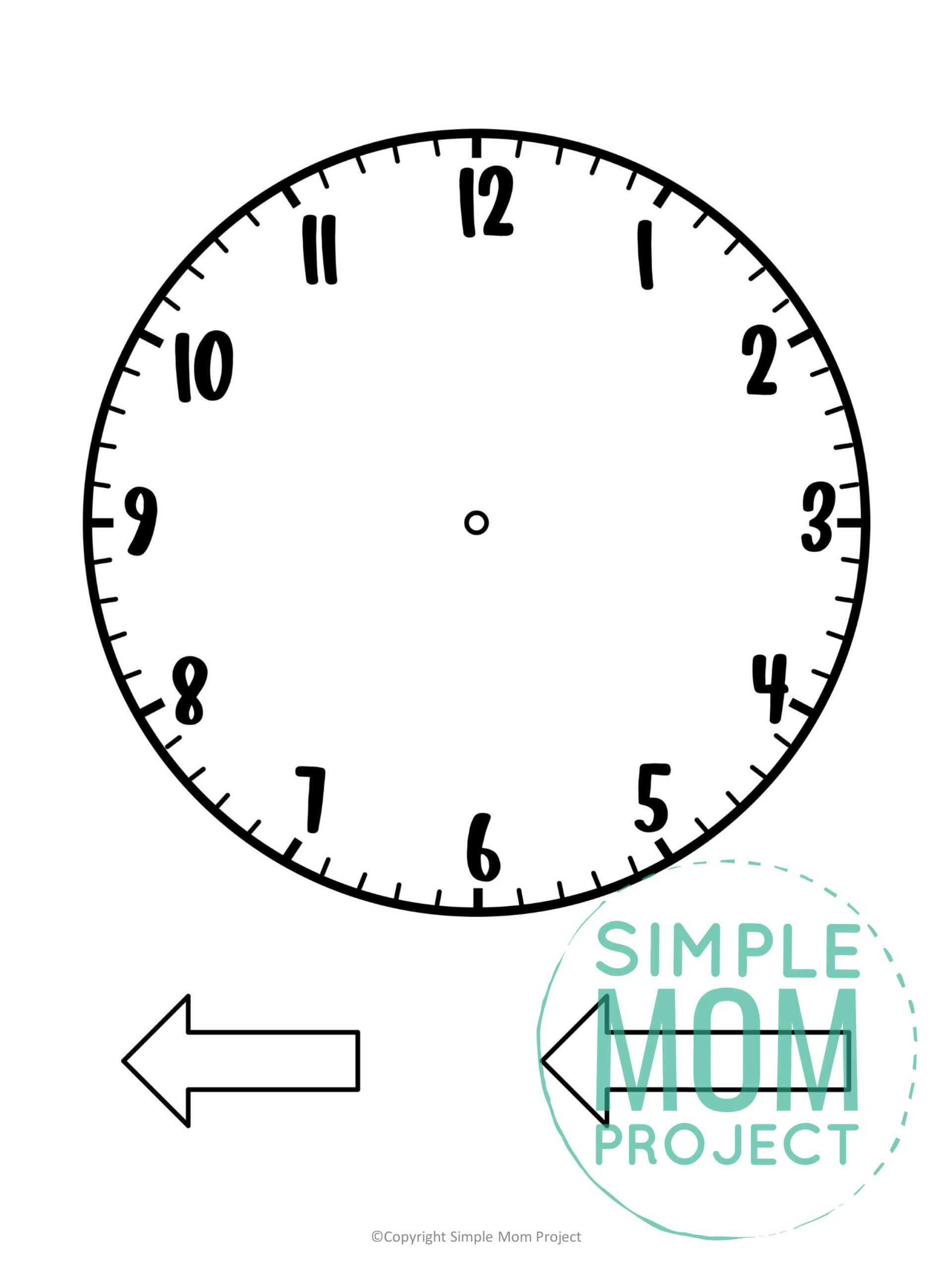 Free printable clock template for kids preschoolers and toddlers