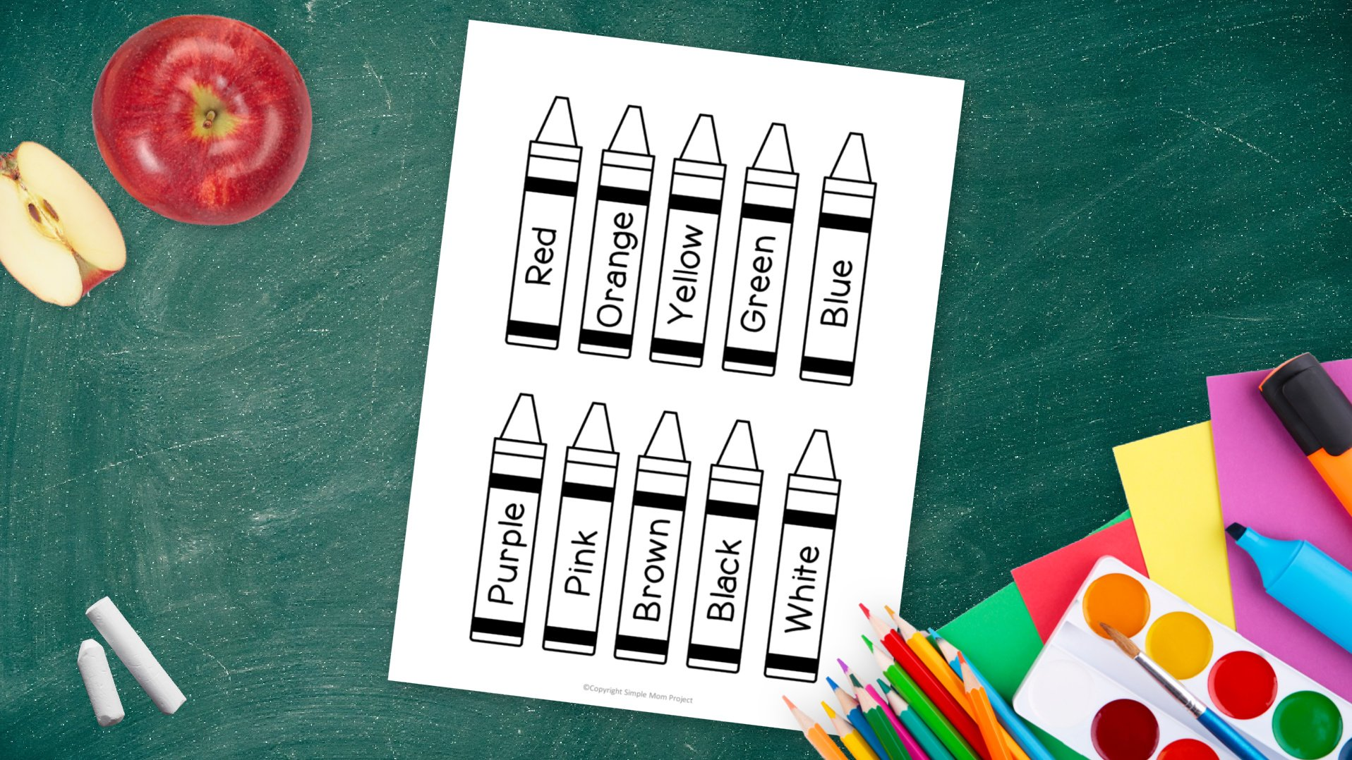 Free printable crayons template for kids preschoolers and toddlers