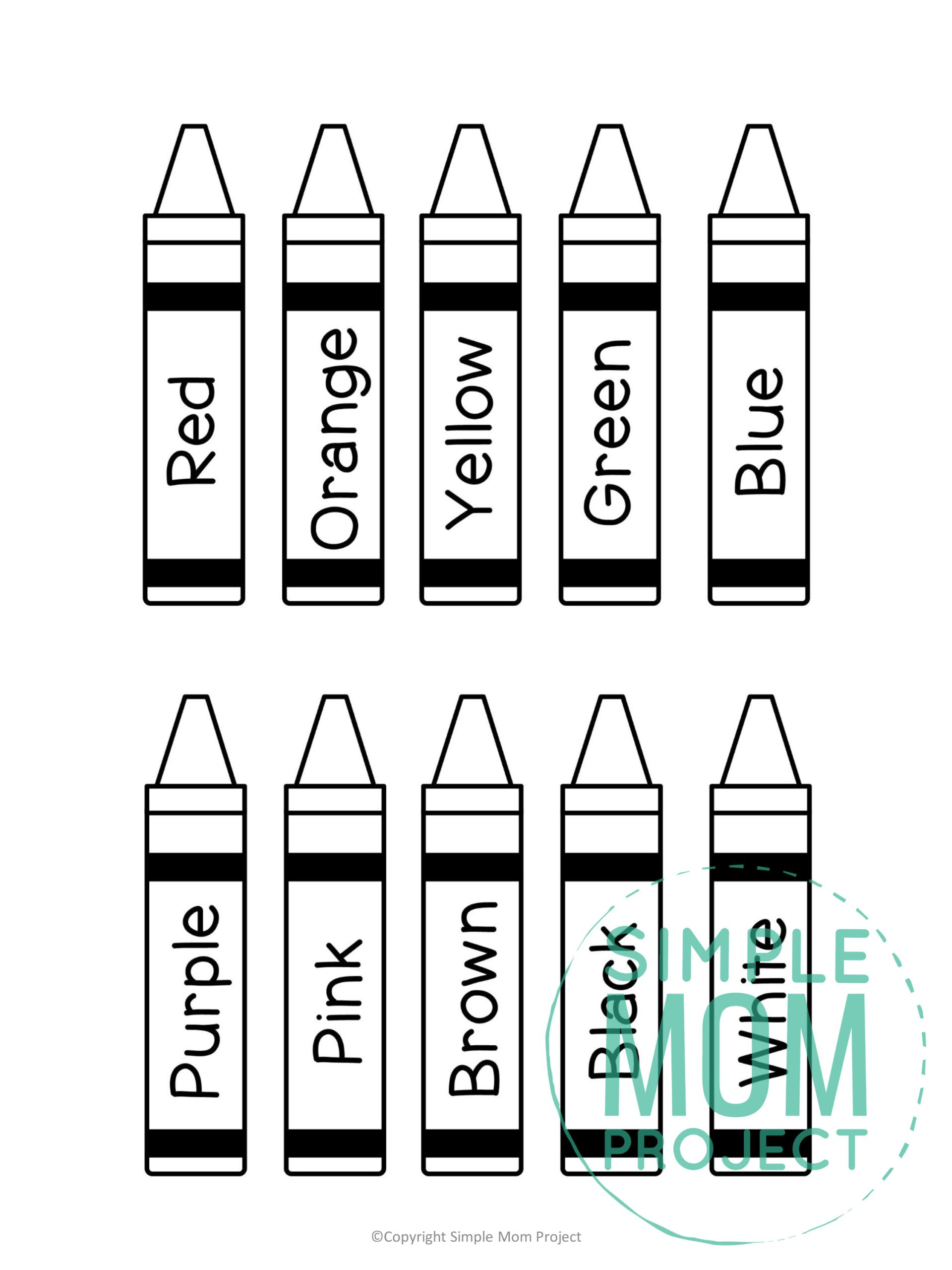 Free Printable Crayons Template Simple Mom Project