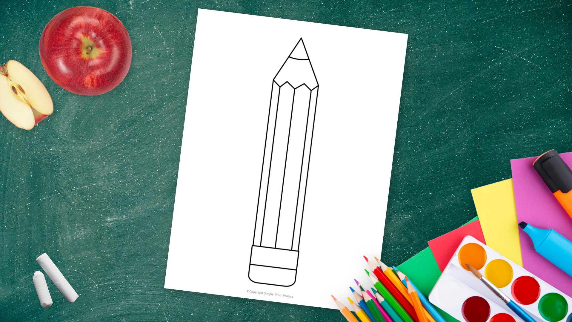 Free printable pencil template for kids preschoolers and toddlers