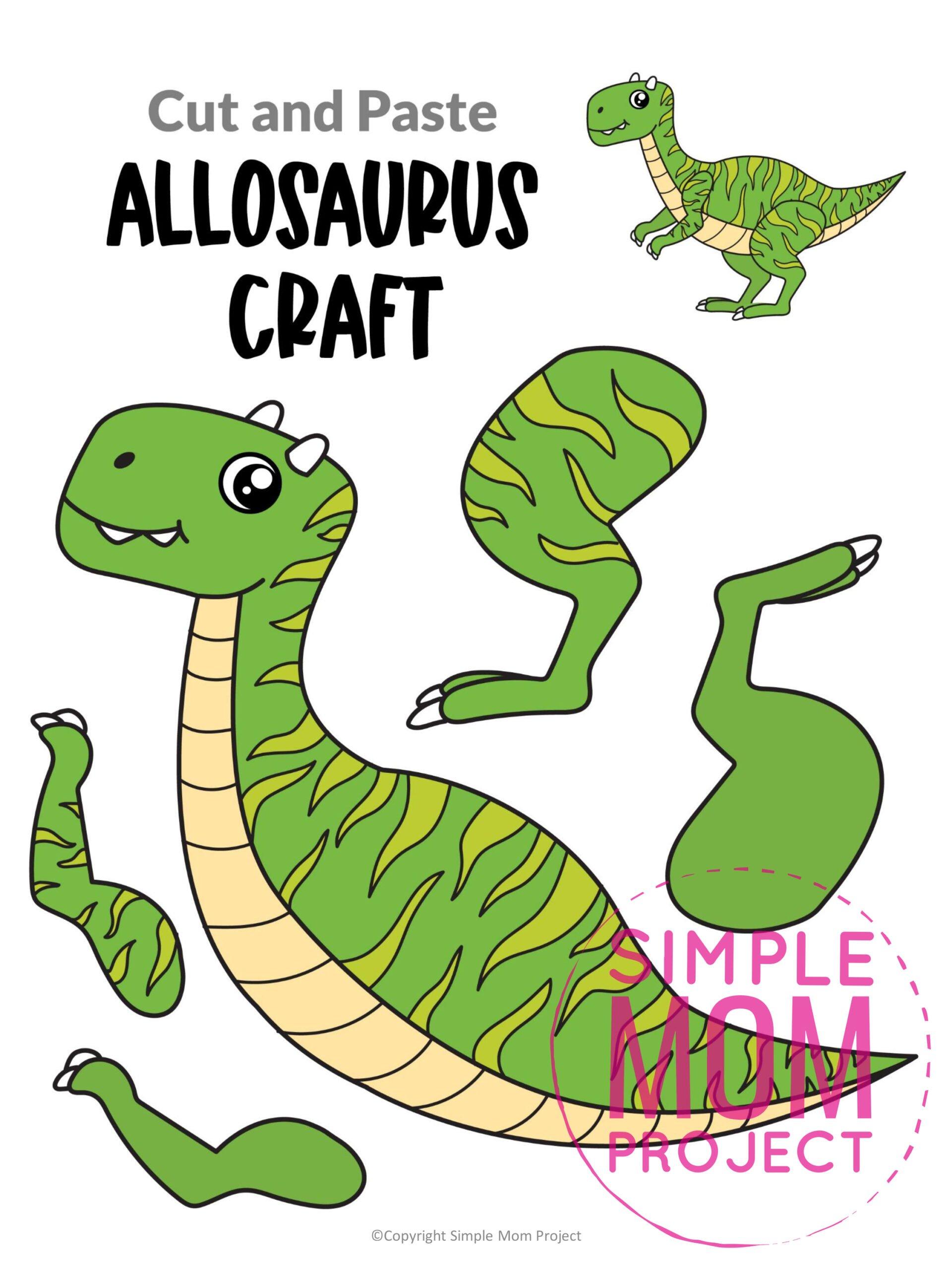 Printable Allosaurus Dinosaur craft for preschoolers toddlers
