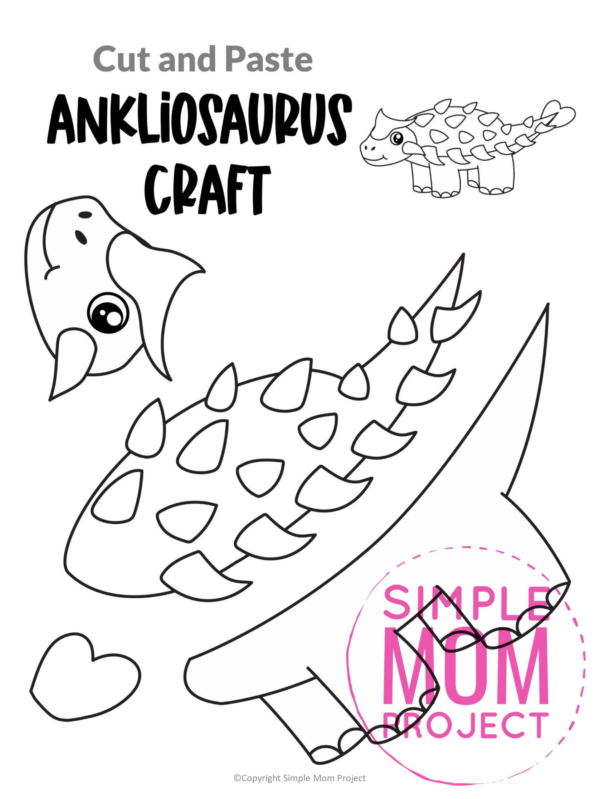Printable Ankliosaurus Dinosaur craft for preschoolers toddlers