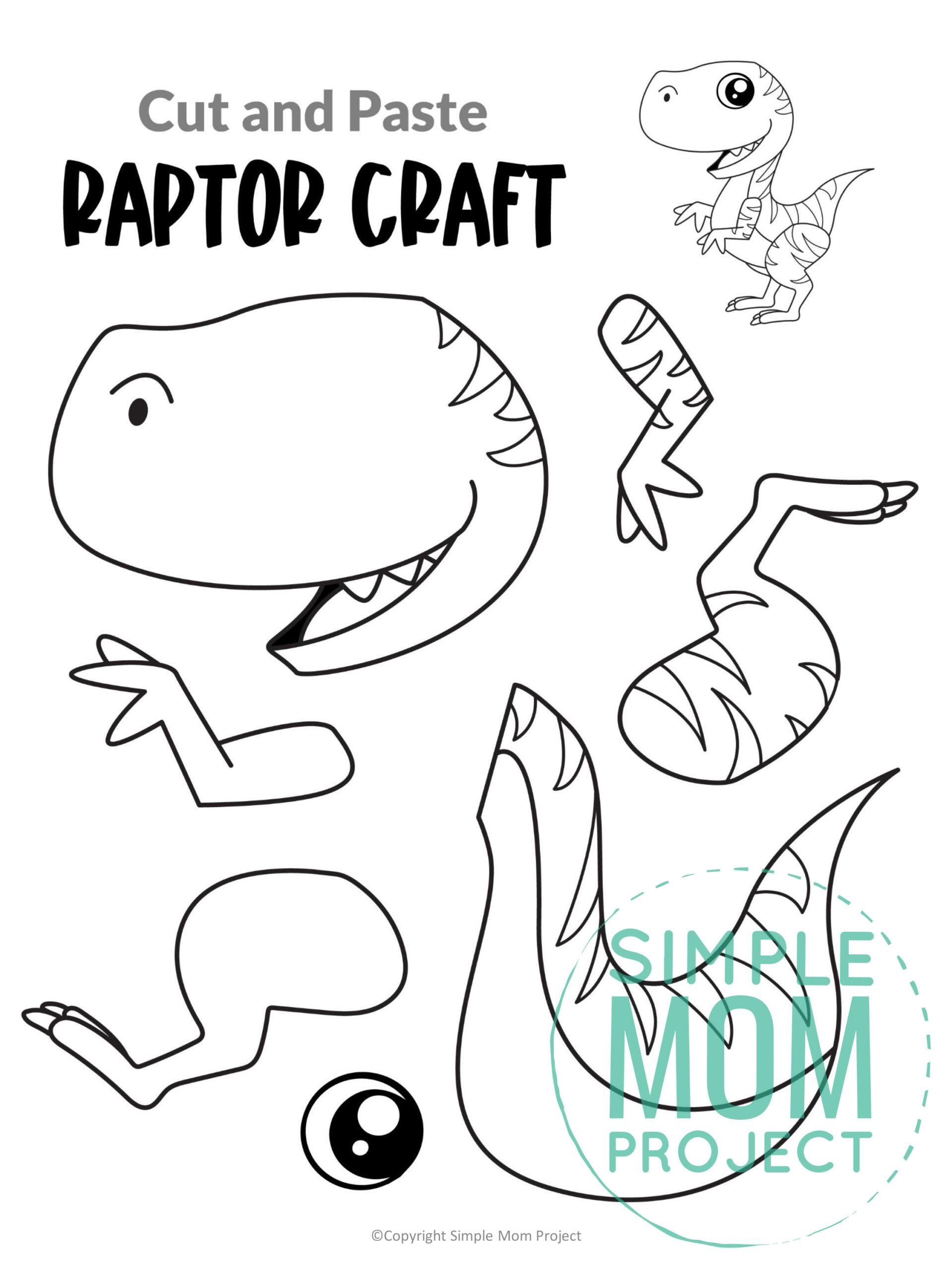 Printable Raptor Dinosaur craft for preschoolers toddlers