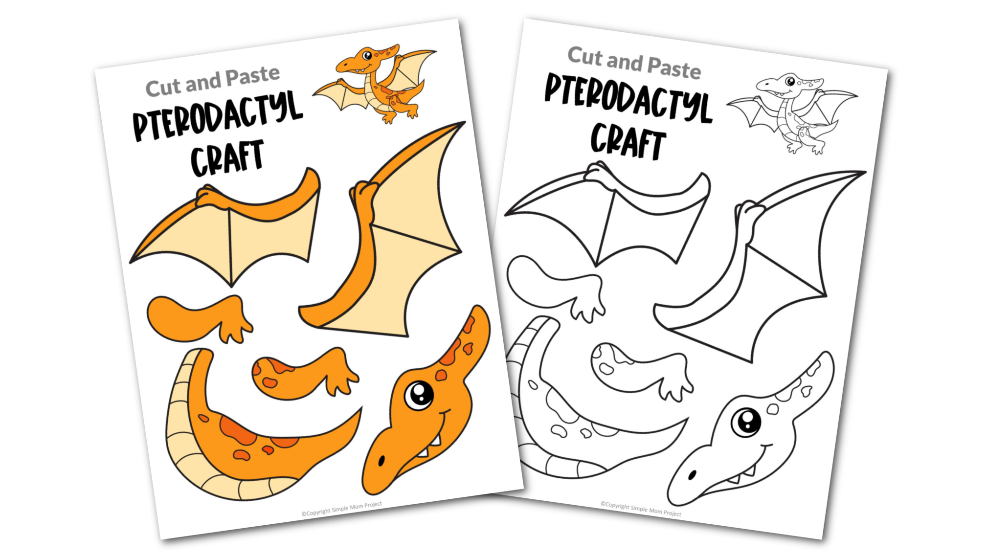 Free Printable Pterodactyl Dinosaur Craft for Preschoolers, toddlers and kindergartners