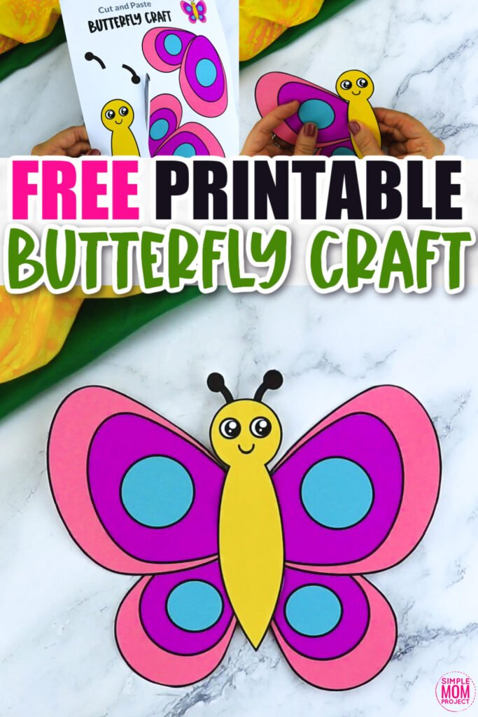 Click now for a simple way to teach the letter B in the alphabet, click now to download and print this easy butterfly craft today! This bug craft is an easy preschool, kindergarten or toddler printable butterfly craft! Turn it into a hanging butterfly making this a fun and creative spring craft. Options for this butterfly craft are endless!