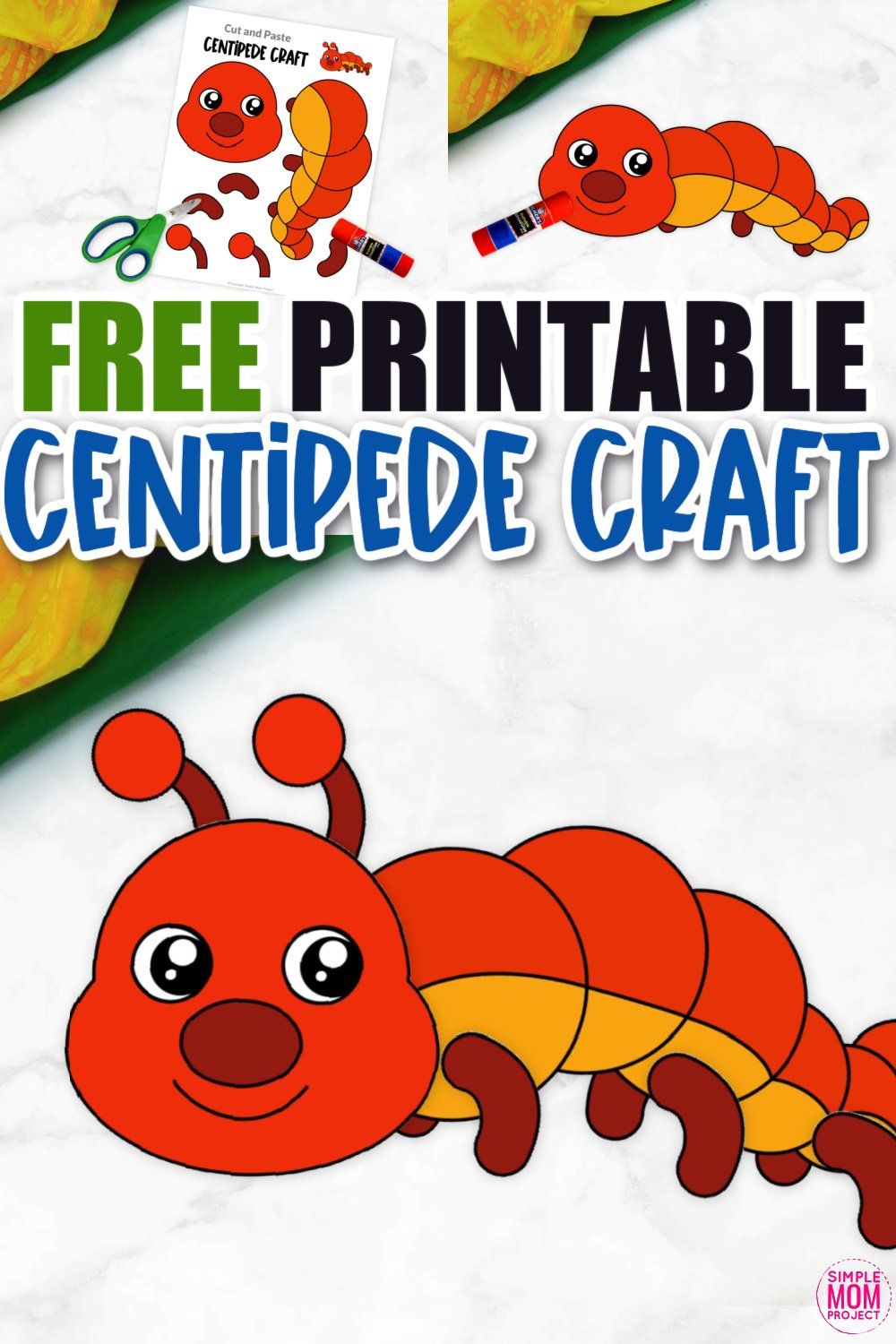 Free Printable Centipede Craft for Kids, preschoolers and toddlers