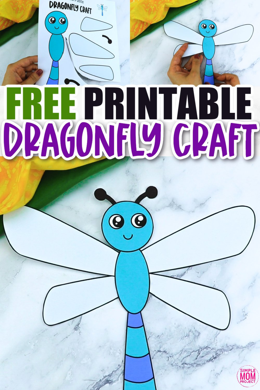 Click now for a simple way to teach the letter D in the alphabet, click now to download and print this easy dragonfly craft today! This insect craft is an easy preschool, kindergarten or toddler printable dragonfly craft! Turn it into a puppet by using recycled materials and gluing the dragonfly template to a paper plate or Popsicle stick. Options for this dragonfly craft are endless!