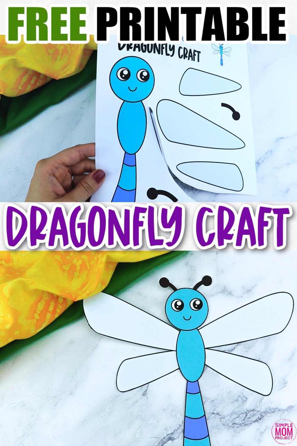 Free Printable Dragonfly Craft for Kids, preschoolers and toddlers