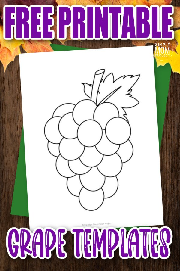 Are you looking for a simple grape stencil to cut out and teach about the letter G? Use this free printable grape template to turn these paper grapes into a preschool coloring activity, a fun painting craft or a cute counting activity. This grape drawing template is perfect for your fruit themed unit studies.