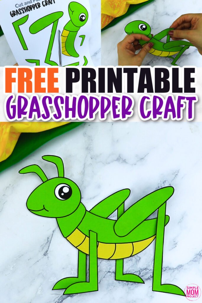 Click now for a simple way to teach the letter G in the alphabet, click now to download and print this green grasshopper craft today! This bug craft is an easy preschool, kindergarten or toddler printable grasshopper craft! Turn it into a jumping grasshopper puppet activity with a toilet paper roll or clothespin. Options for this grasshopper craft are endless!