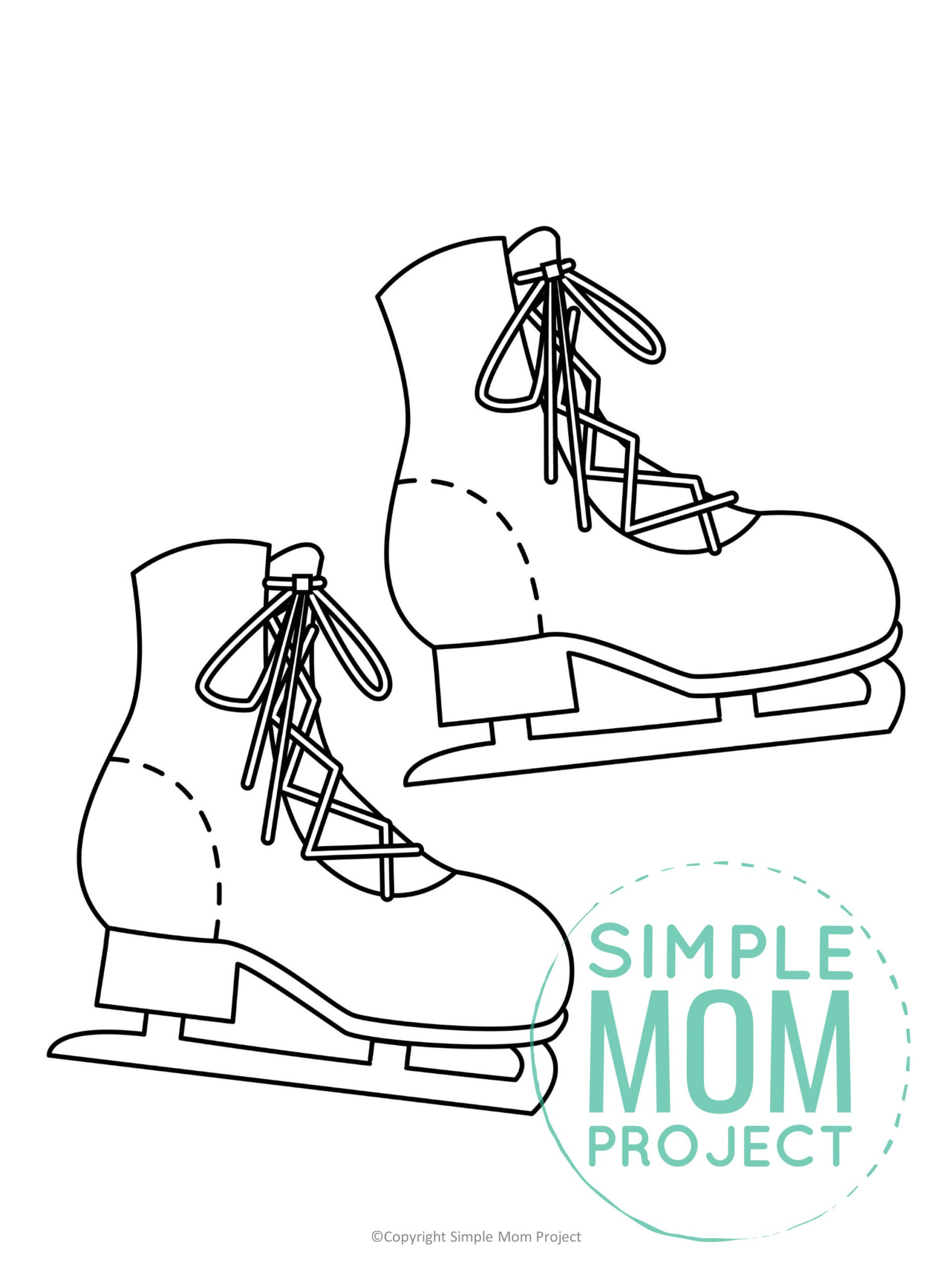 Free Printable Ice Skates Template for kids preschoolers toddlers