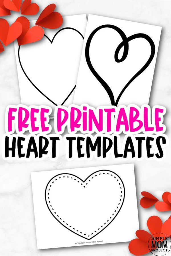 These FREE printable, full page printable heart templates are perfect for heart shape cards, DIY wedding invitations, party garland, or for use as templates for heart outline art projects. They make cute coloring pages, perfect templates for string art and quilts, and a nice background for writing projects. Get your free printable large heart template printables today!
