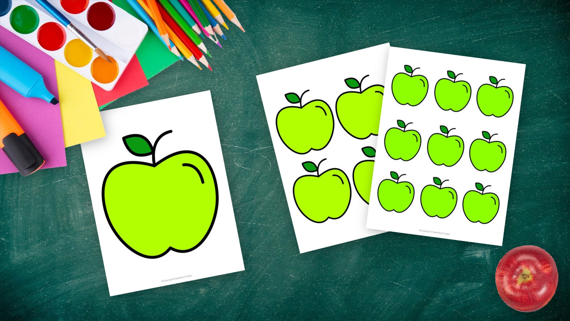 Free Printable Large Small Medium Red Apple Template for Fall Crafts, Autumn Apple Crafts, Teacher Appreciation Crafts 3