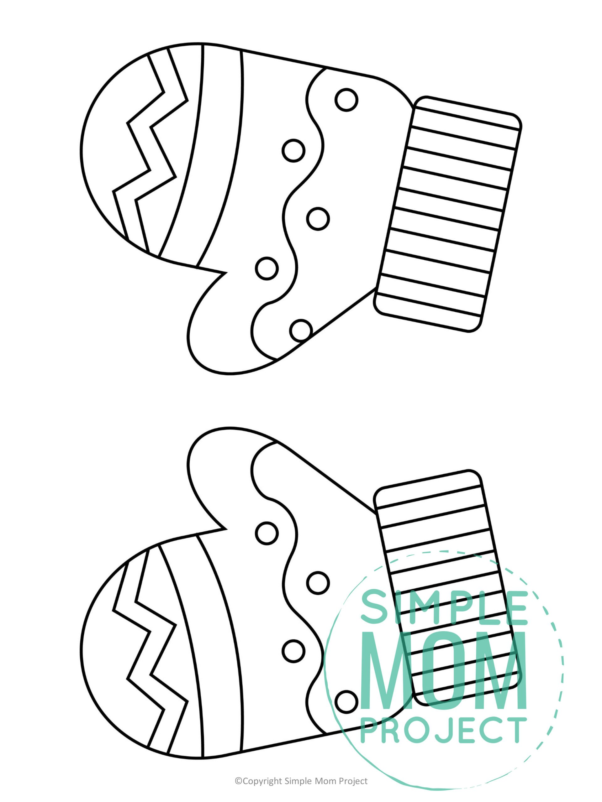 Printable Mittens Template for kids preschoolers toddlers